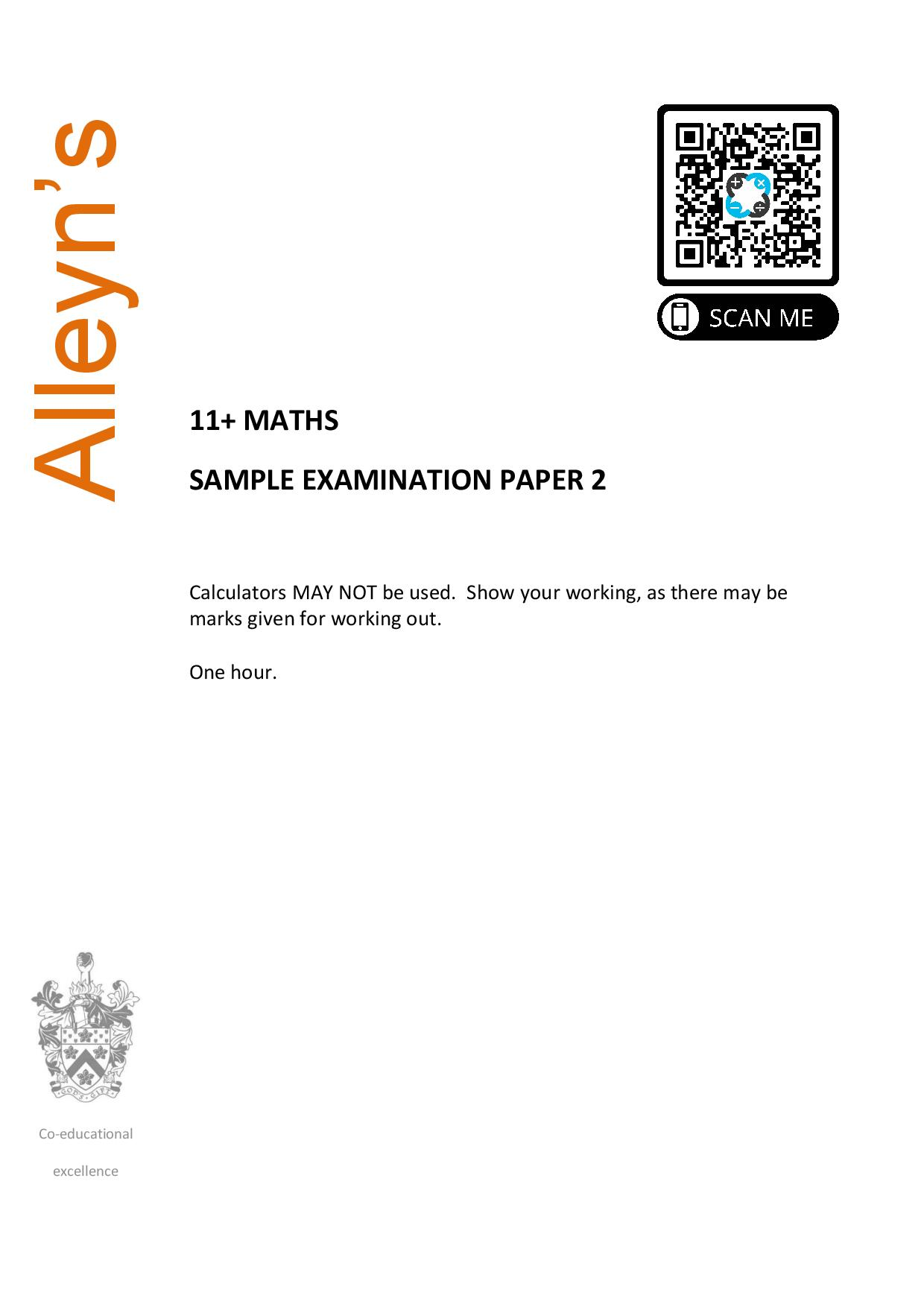 11 Maths Sample Examination Paper 2 Alleyns page 001