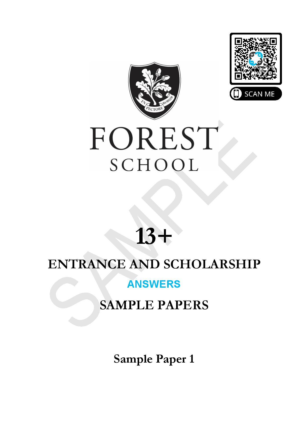 13 ENTRANCE AND SCHOLARSHIP SAMPLE 1 Answer Paper page 001