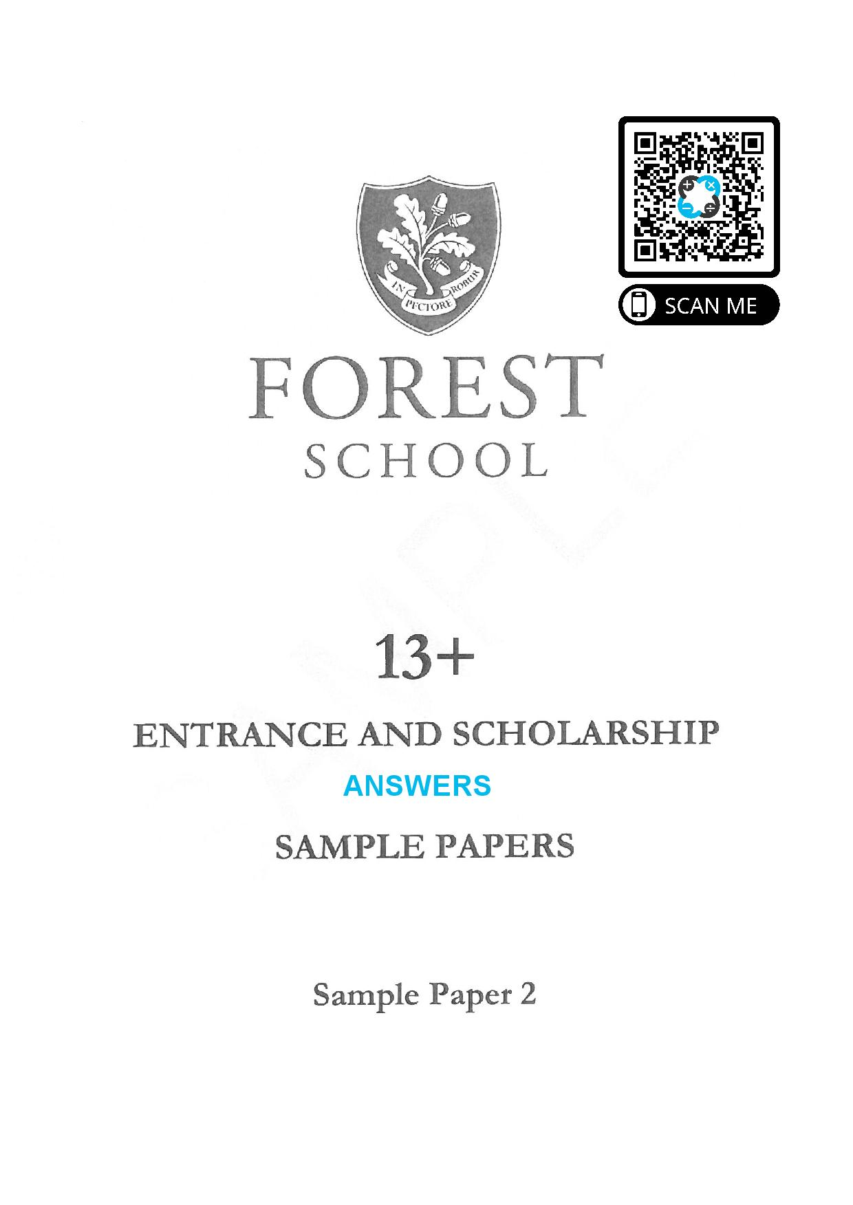 13 ENTRANCE AND SCHOLARSHIP Sample 2 Answer Paper page 001