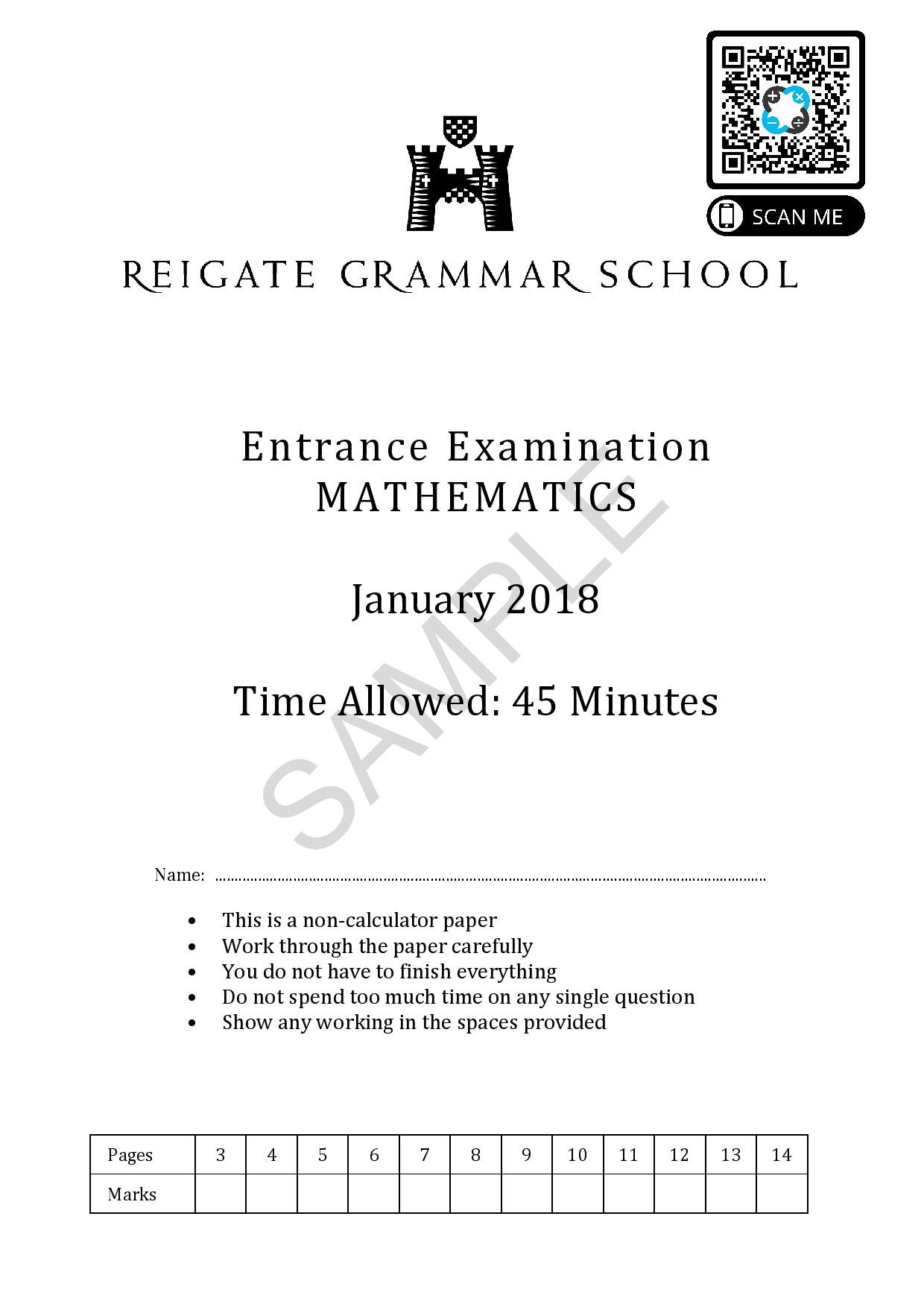 13 Pre Test Maths Entrance Exam January 2018 SAMPLE reigate page 001