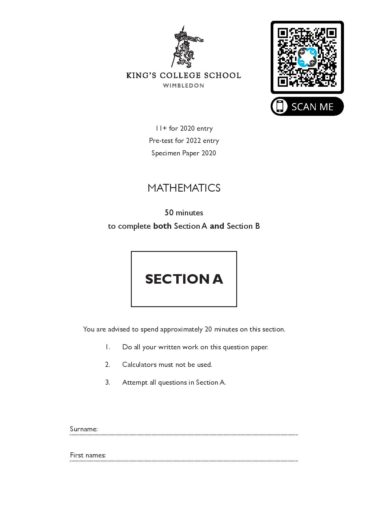2020 kings maths a 11plus pre test specimen paper for 2020 exam King page 001