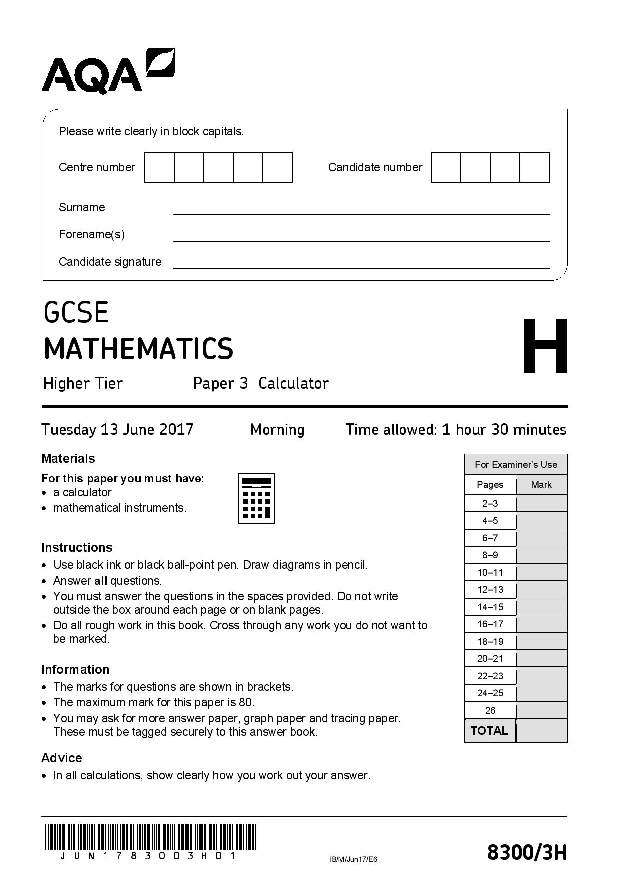 AQA JUNE 2017 HIGHER PAPER 3 page 001