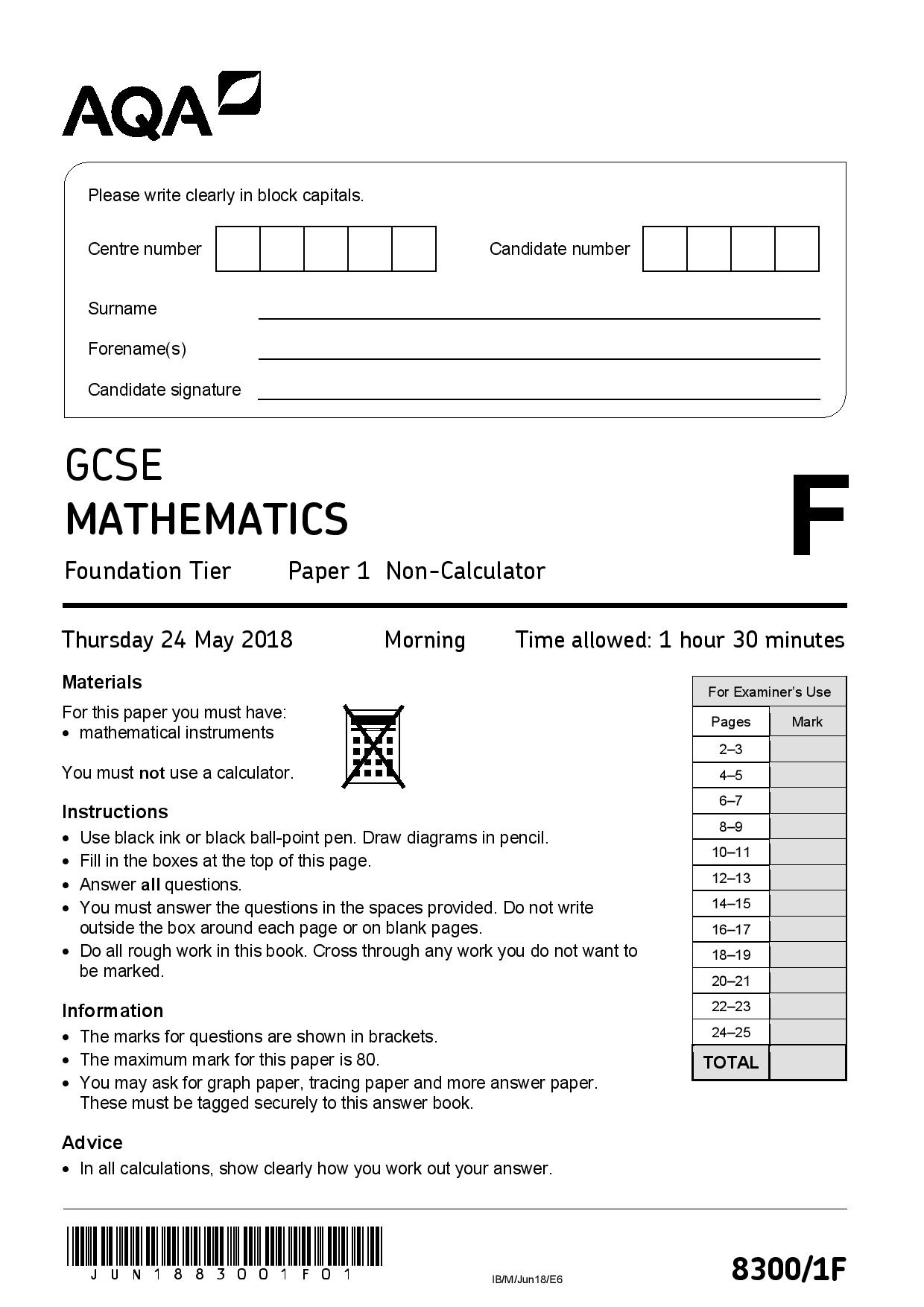 AQA JUNE 2018 FOUNDATION PAPER 1 page 001