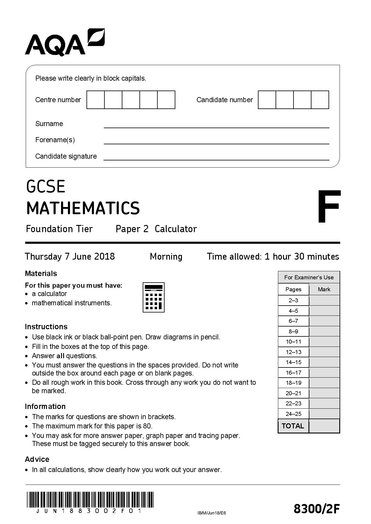 AQA JUNE 2018 FOUNDATION PAPER 2 page 001