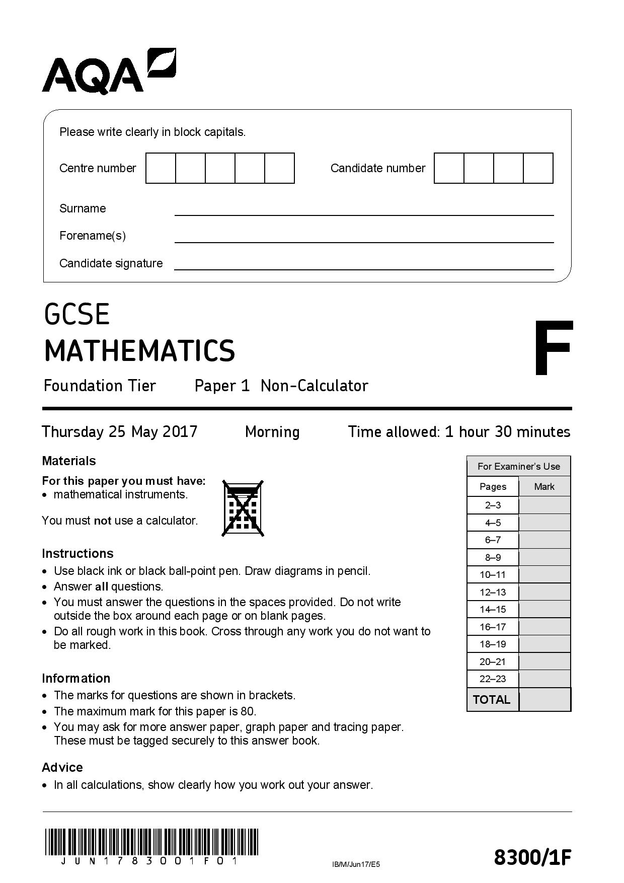 AQA June 2017 Foundation paper question paper page 001