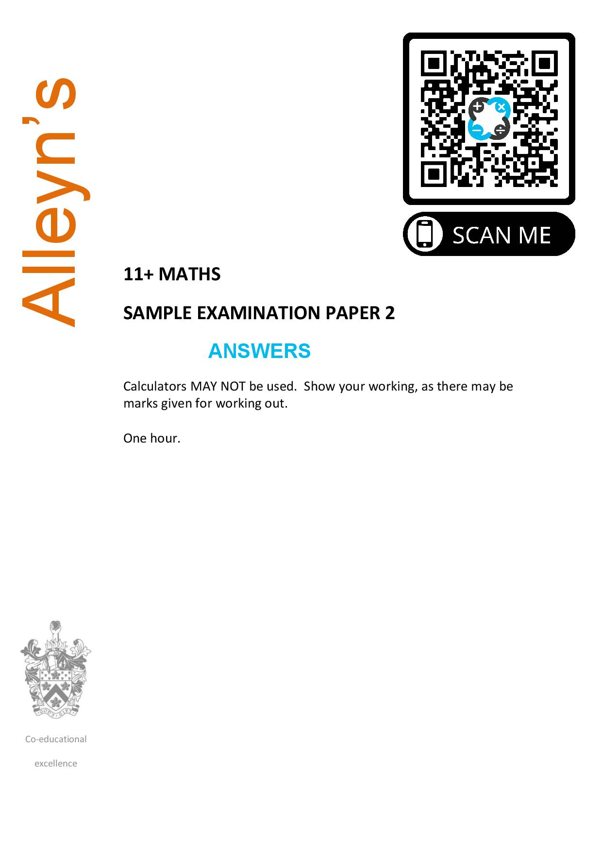 Alleyns 11 MATHS SAMPLE EXAMINATION PAPER 2 Answer Paper page 001
