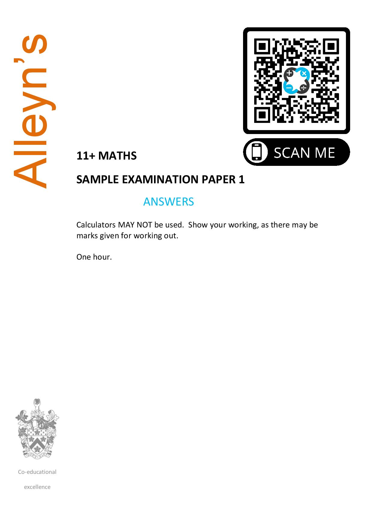 Allyens 11 MATHS SAMPLE EXAMINATION PAPER 1 Answer Paper page 001