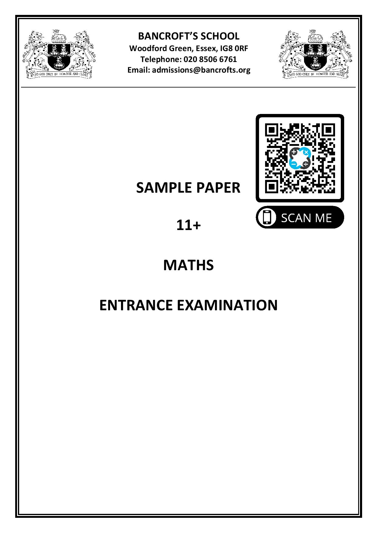 Bancroft School 2017 11 Maths Complete 1 page 001