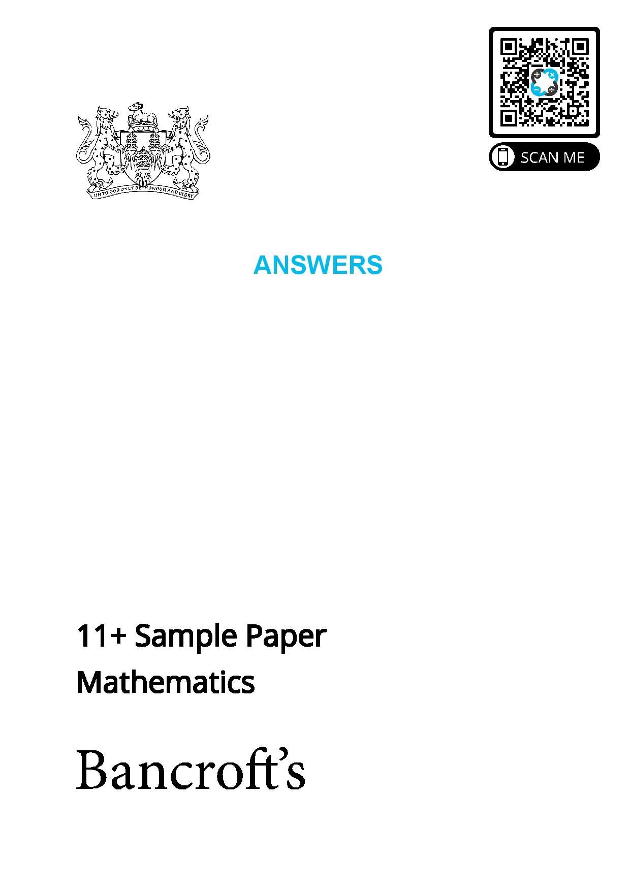 Bancrofts School 11 Plus Maths Sample Paper 2021 entry page 001
