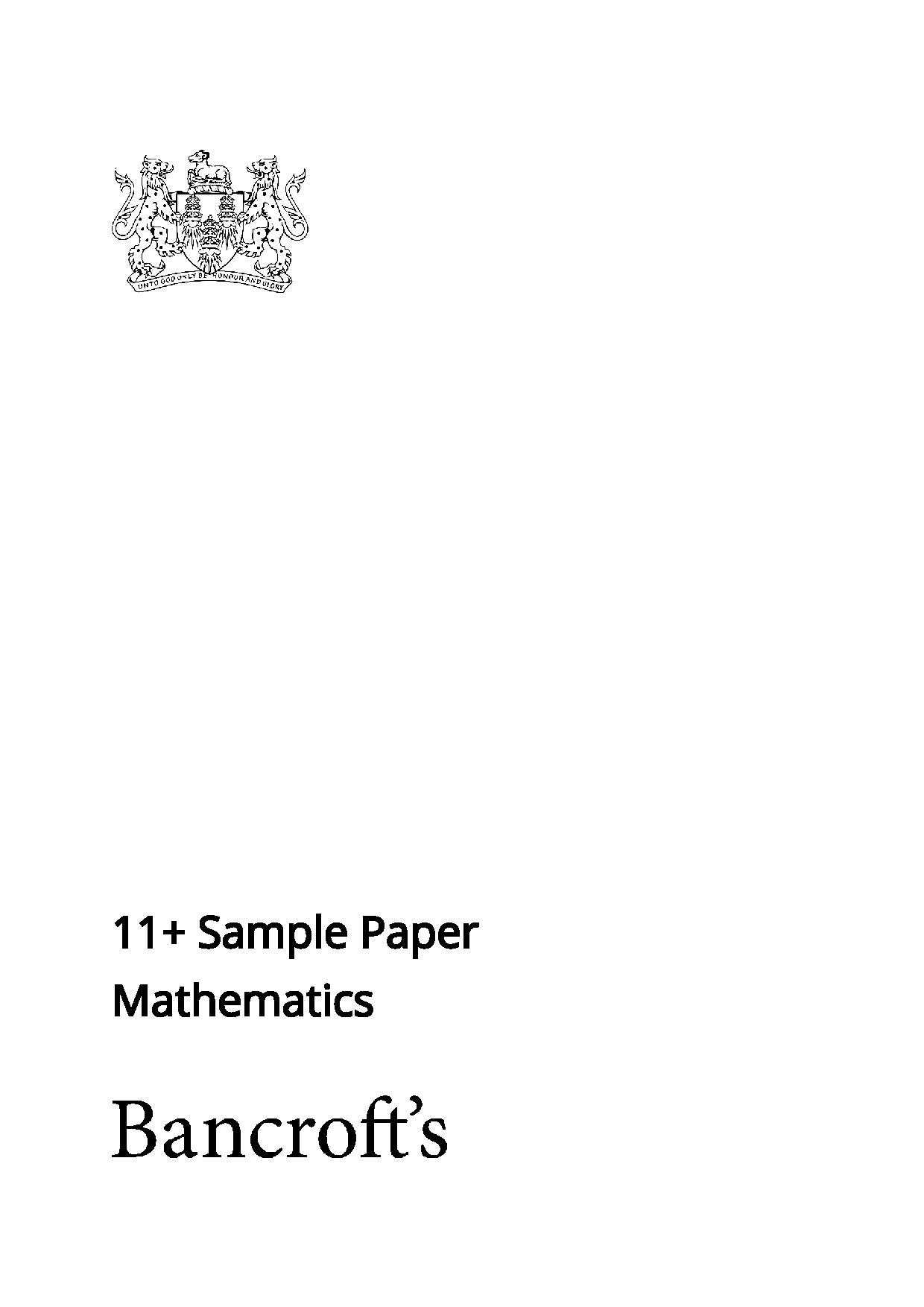Bancrofts School 11 Plus Maths Sample Paper 2021 entry2 Answer Paper 1 page 001 1