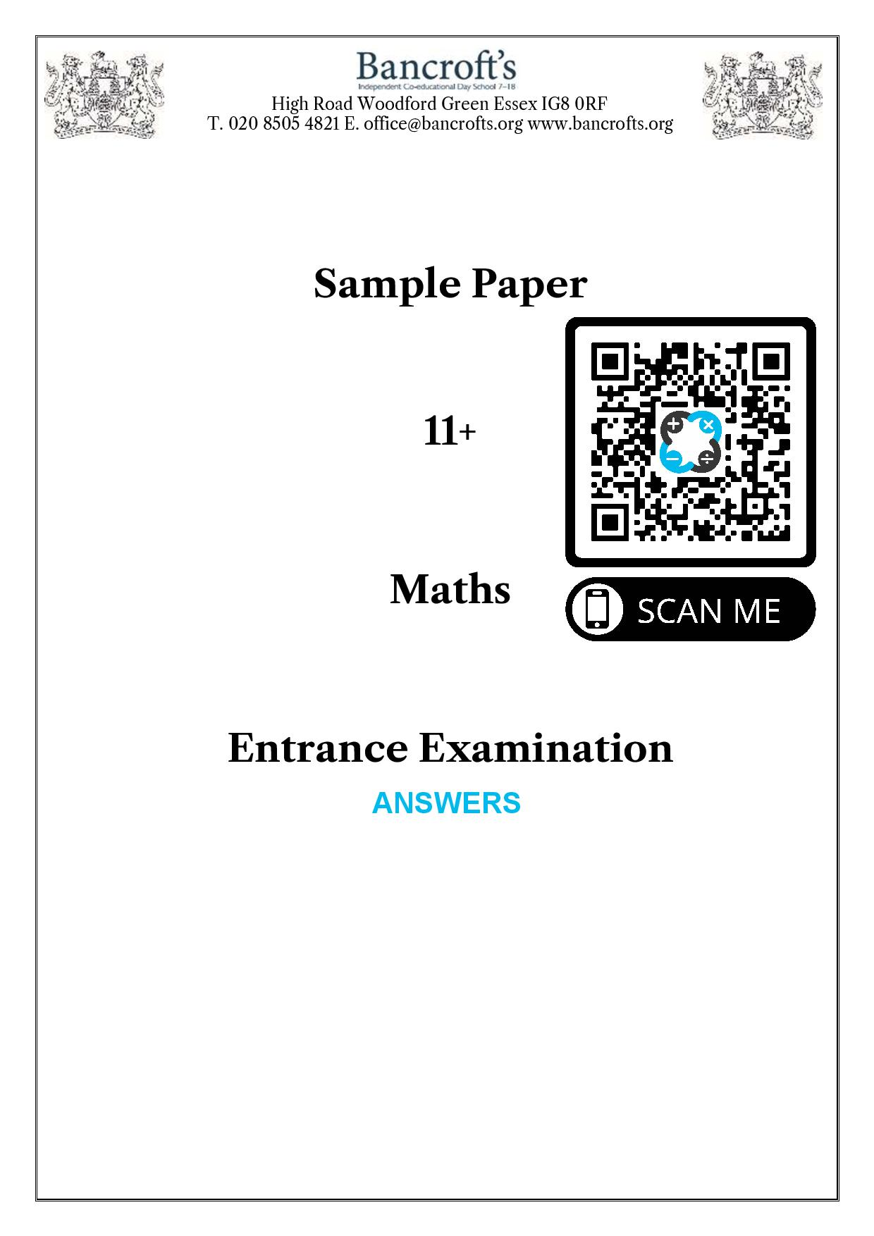 Bancrofts School Sample 11 Plus Maths Paper 2018 Answer Paper 1 page 001