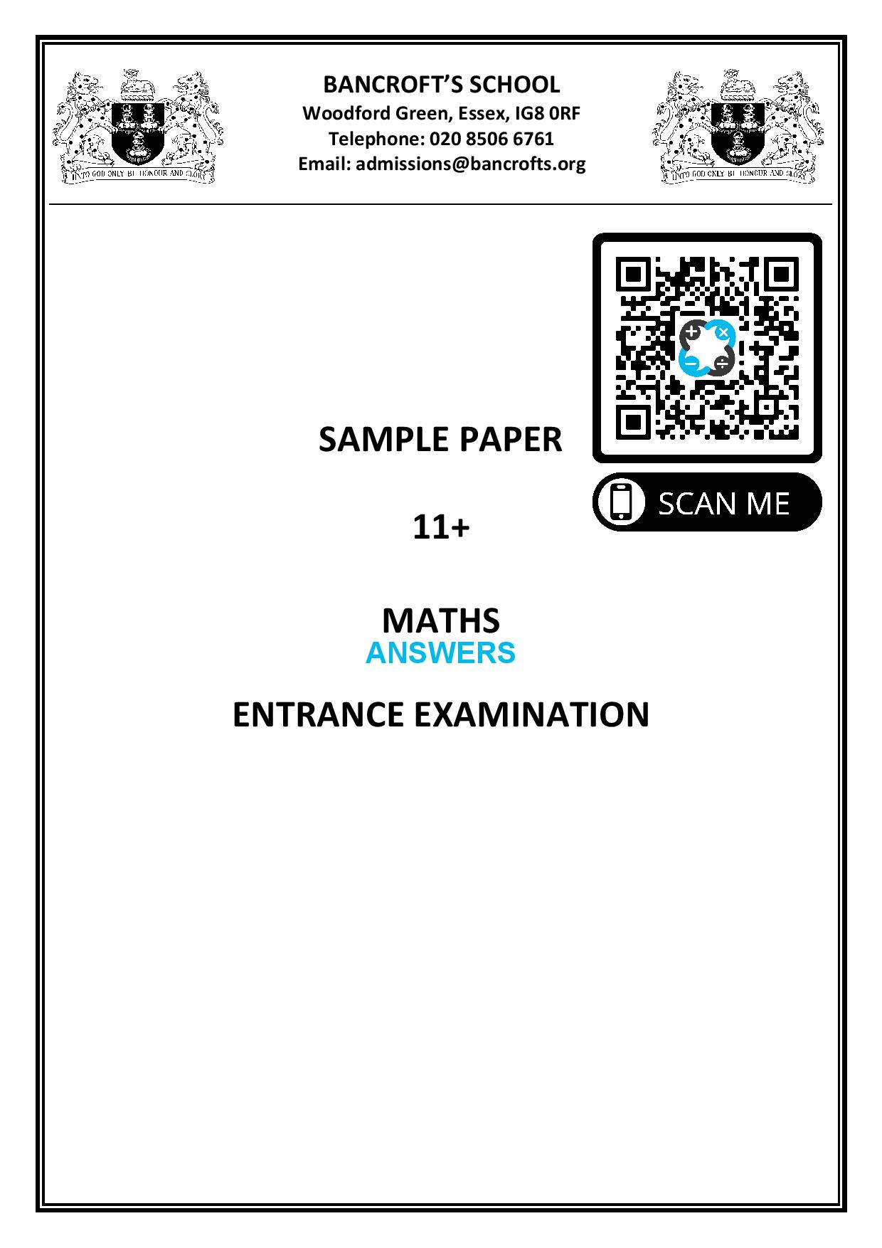 Bancrofts School Sample Paper 11 Maths Entrance Examination Answer Paper page 001