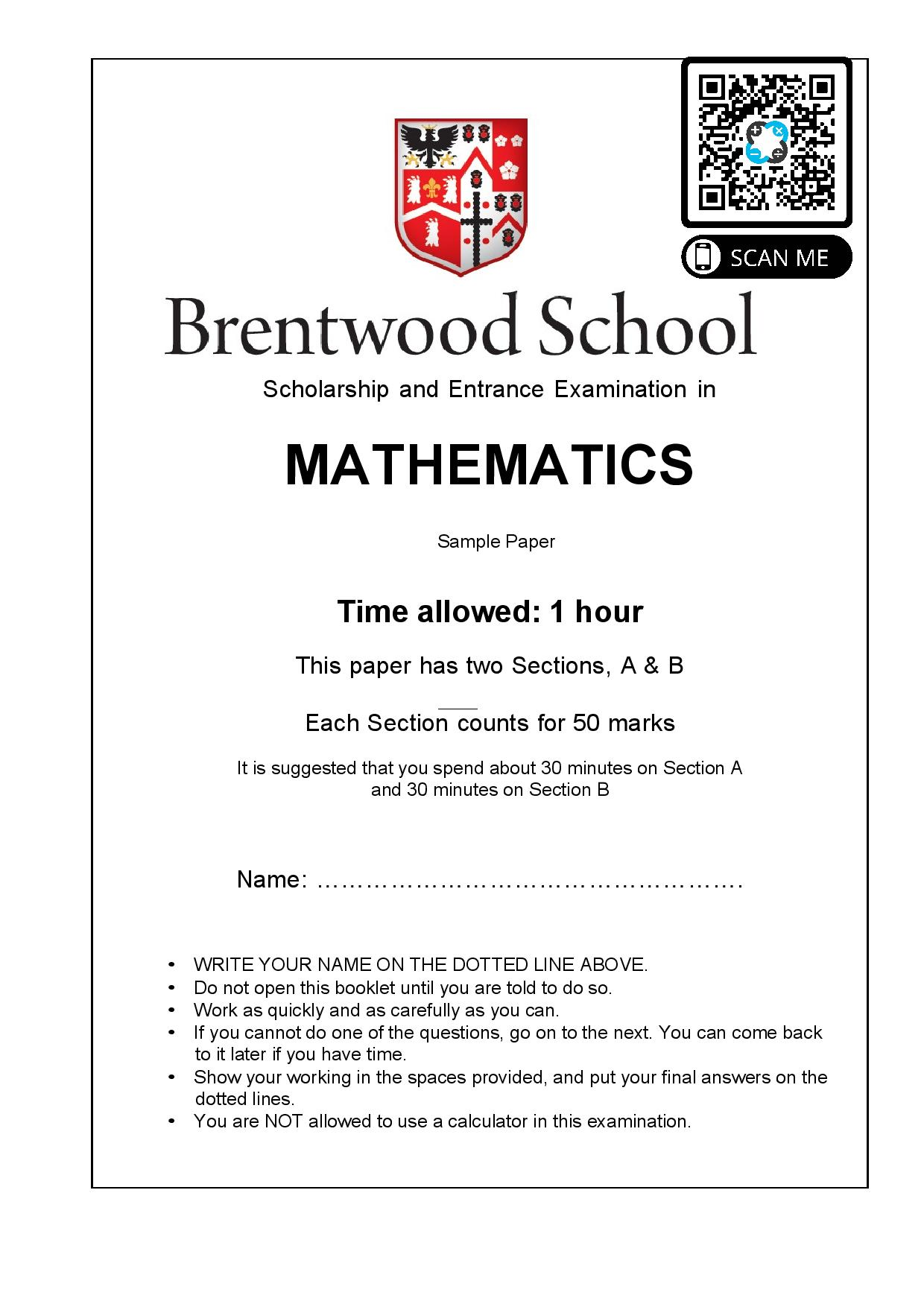 Brentwood school 11 Plus Maths Sample Paper 1 page 001