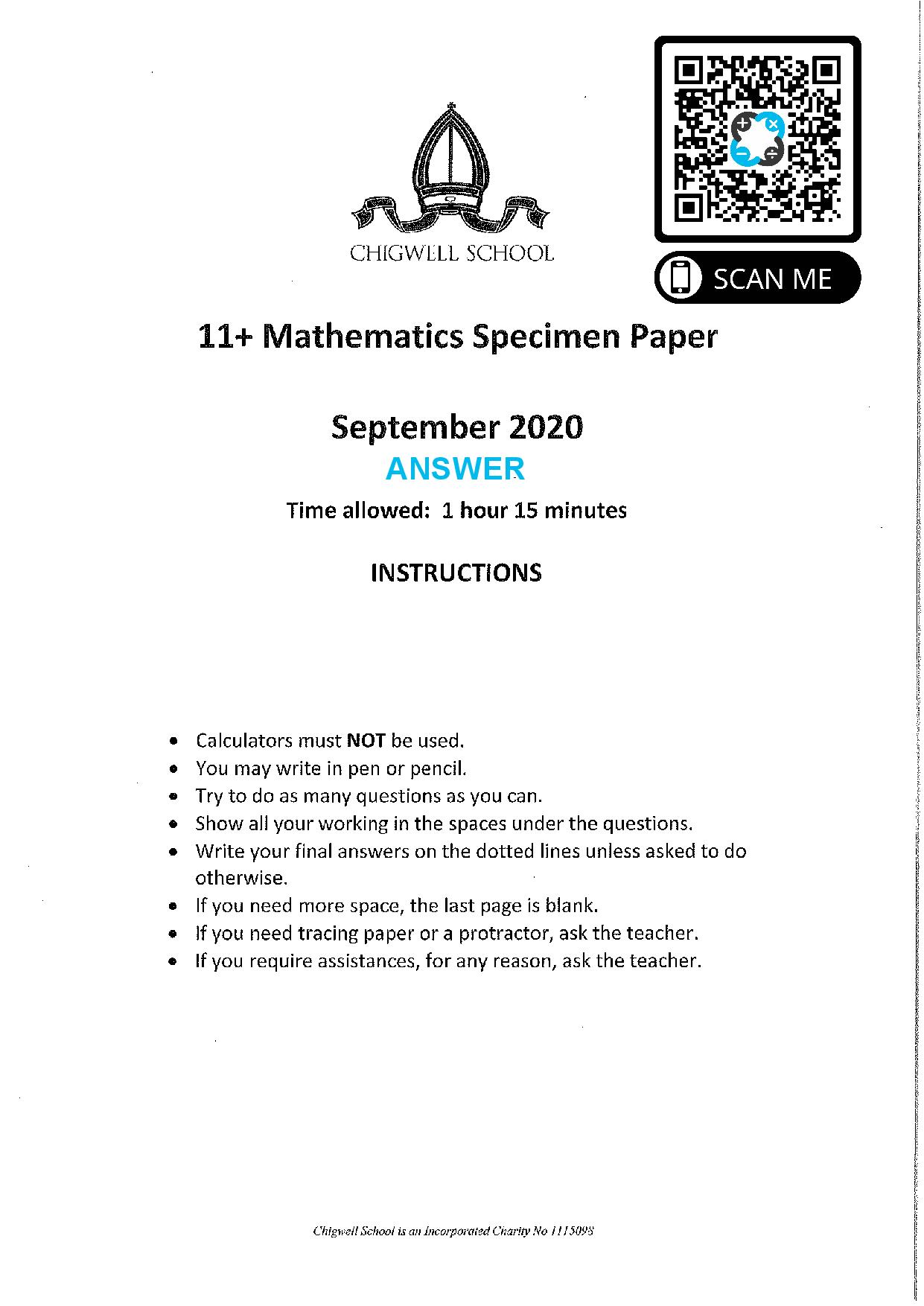Chigwell School 11 Plus Maths Specimen Paper 2020 entry 1 Answers Paper page 001