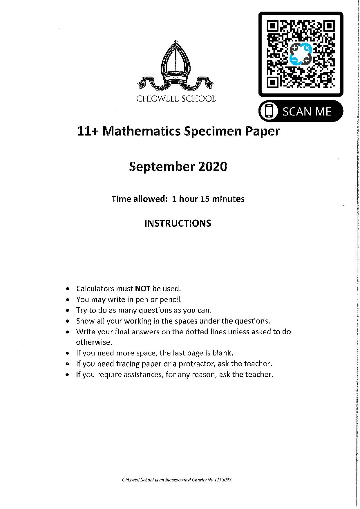 Chigwell School 11 Plus Maths Specimen Paper 2020 entry page 001