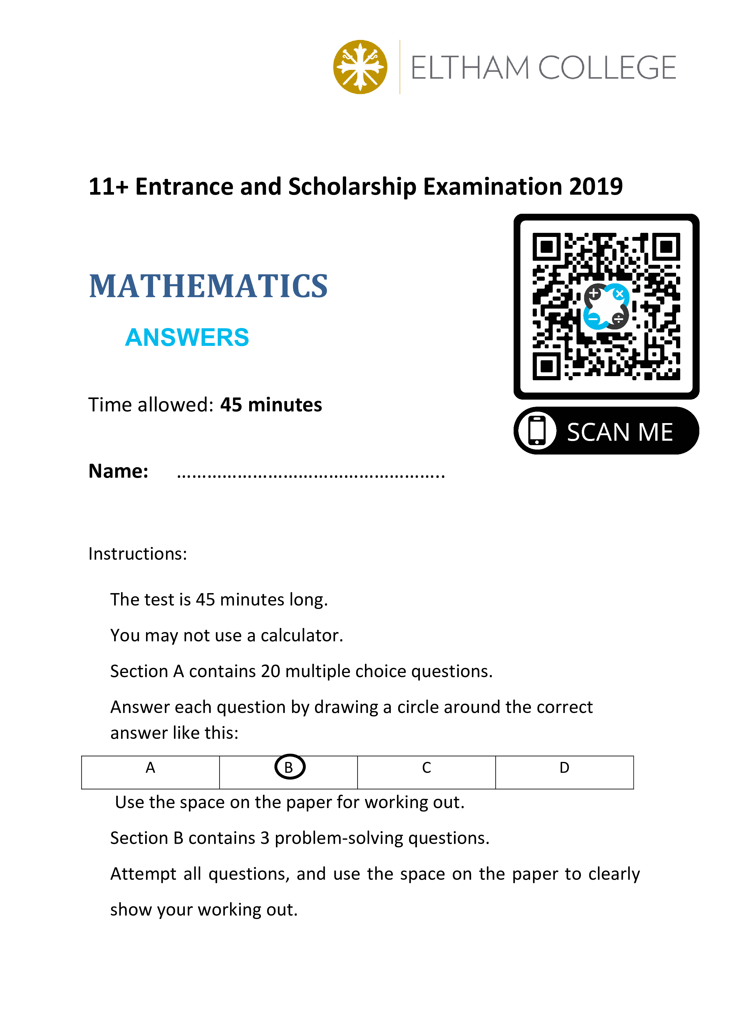 Eltham College 11 Entrance and Scholarship Examination 2019 Answer Paper 0000