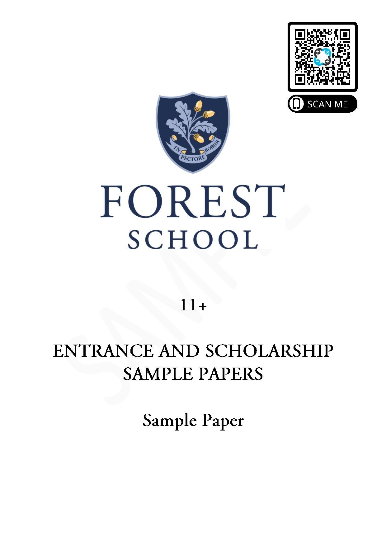 Forest School 11 Plus Maths Sample Paper 1 2020 2 page 001
