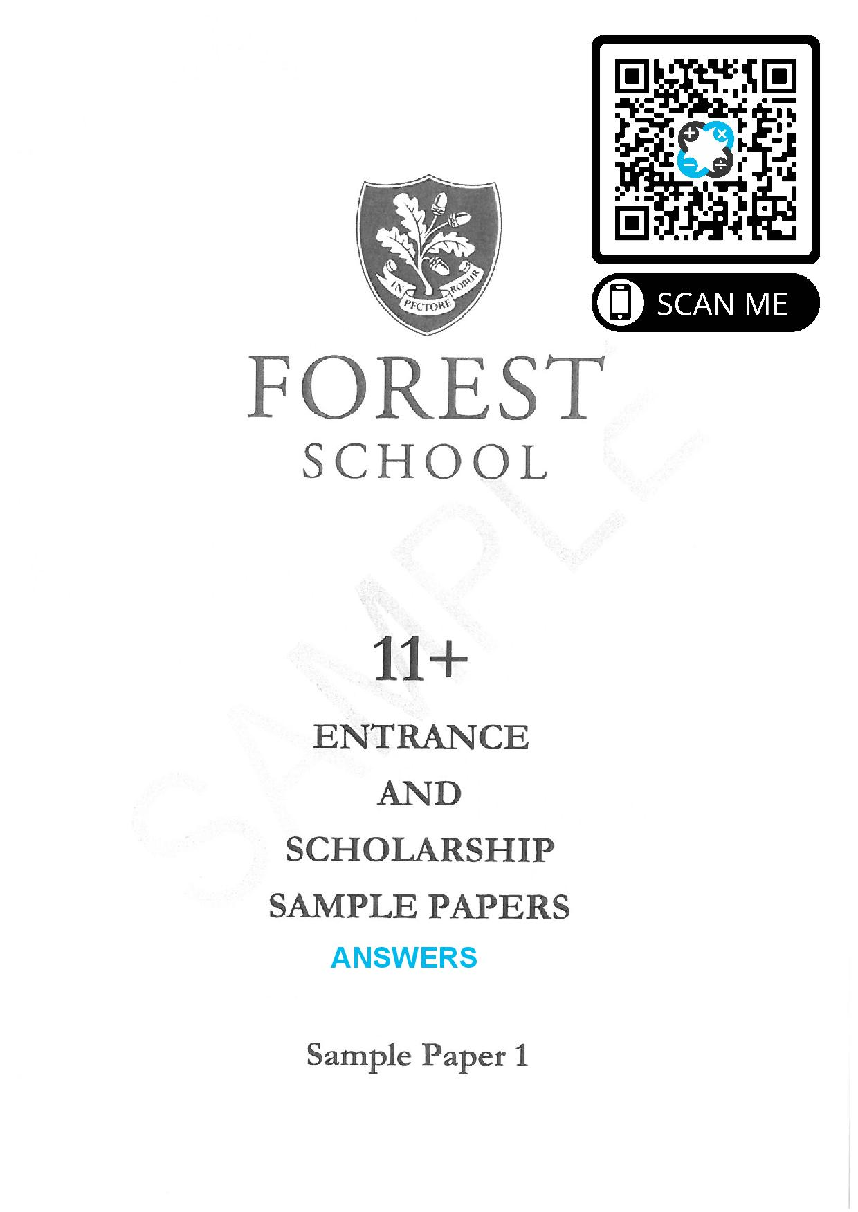 Forest School 11 Plus Practice Paper 1 Answers Paper page 001