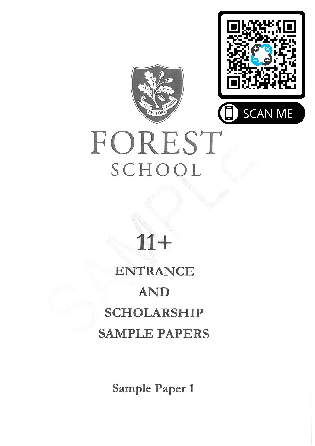 Forest School 11 Plus Practice Paper 1 page 001