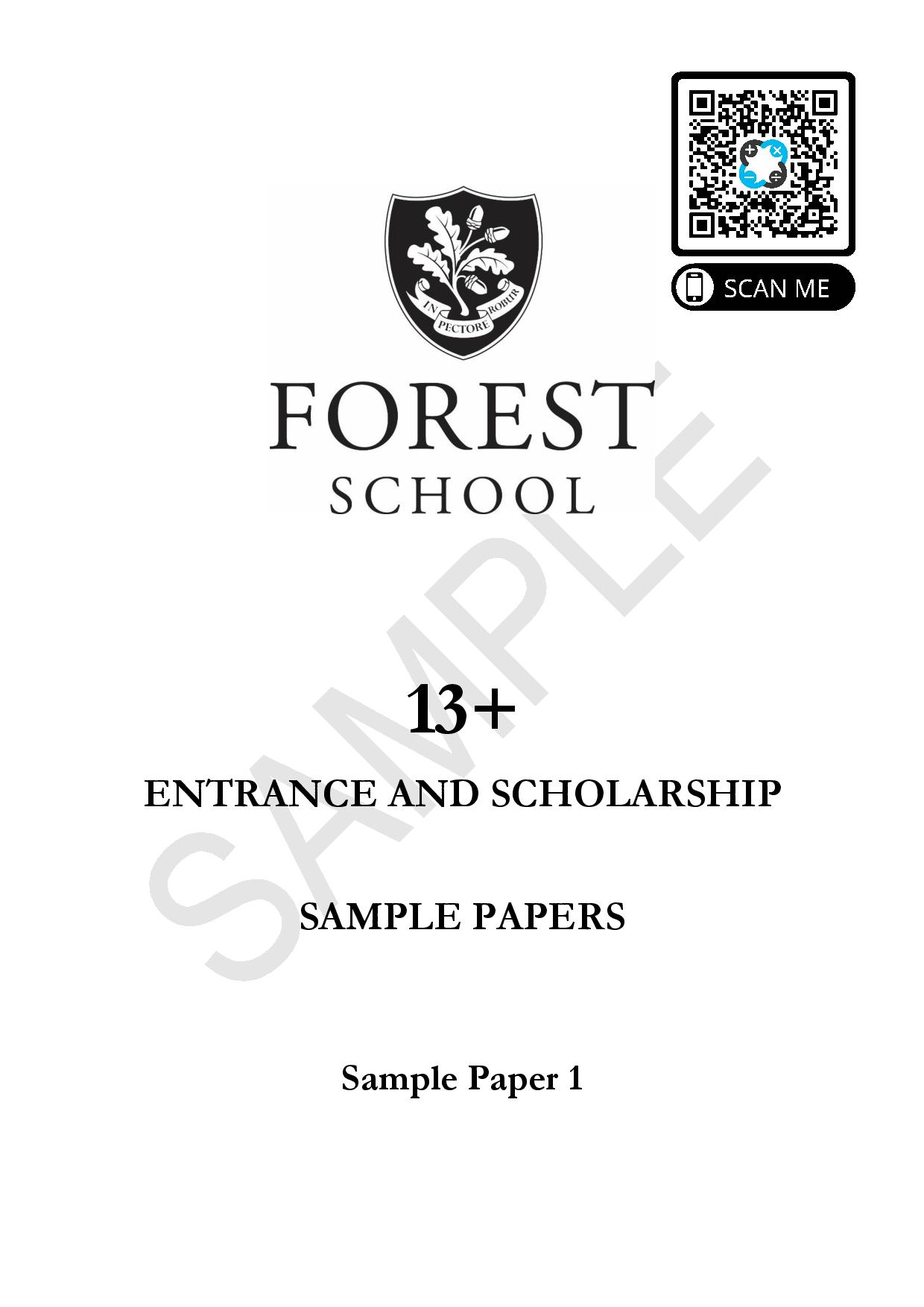 Forest School 13 Plus Maths Sample Paper 1 page 001