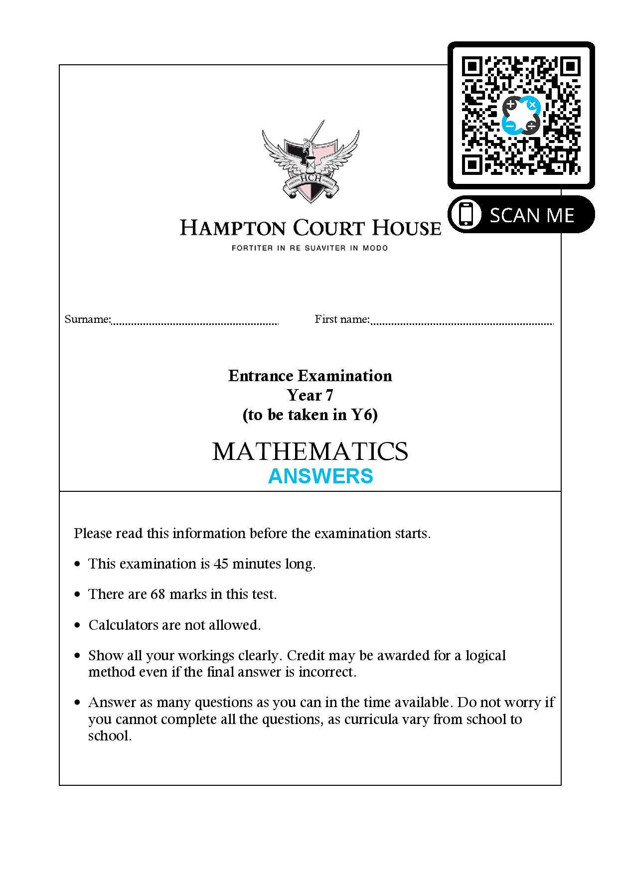 Hampton Court House Entrance Examination Year 7 to be taken in Y6 MATHEMATICS Answer Paper page 001
