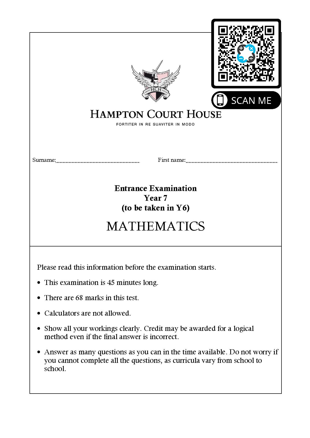 Hampton Court House Entrance Examination Year 7 to be taken in Y6 MATHEMATICS Questions Paper page 001 1