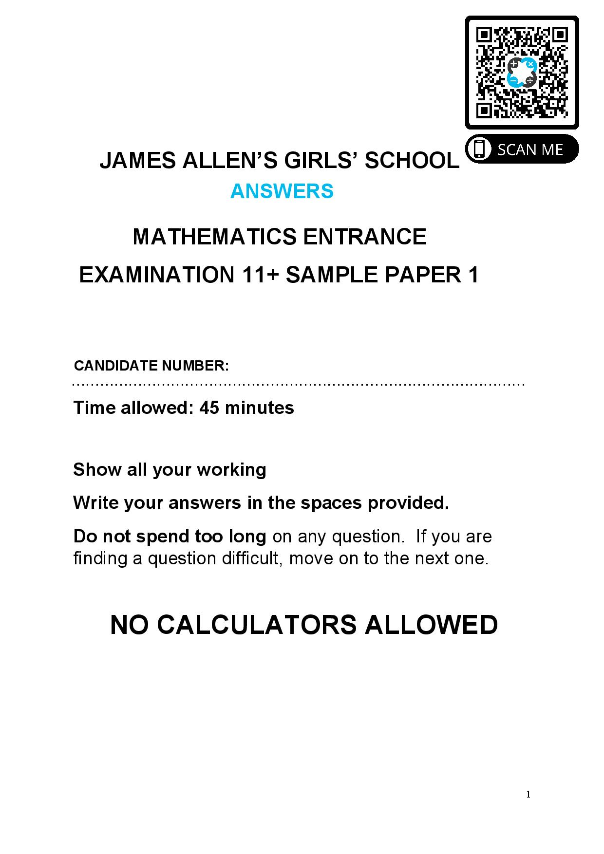 JAMES ALLENS GIRLS SCHOOL 11 ENTRANCE EXAMINATION SAMPLE PAPER MATHEMATICS Answer Paper page 001