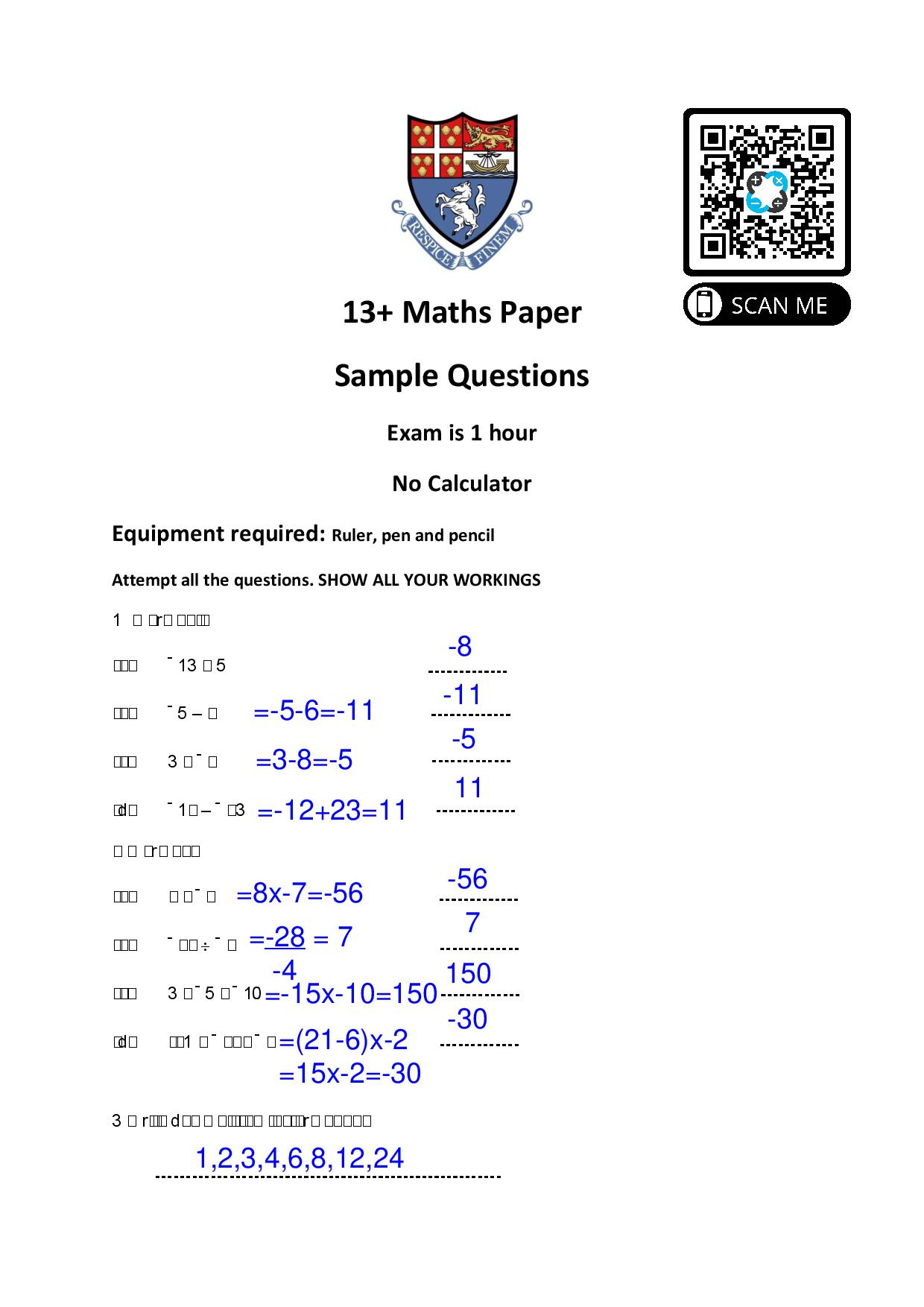 Kent 13 Maths Paper Sample Answer Paper page 001