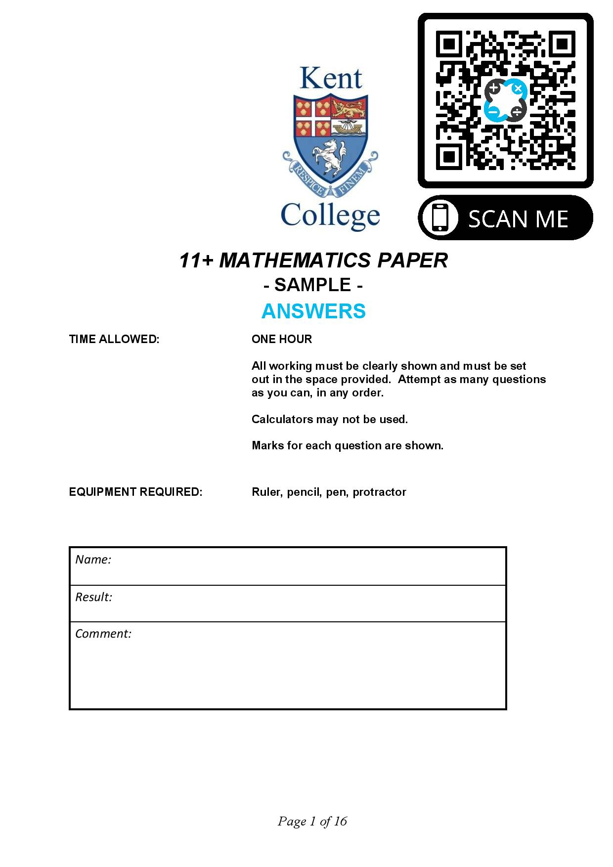 Kent College 11 MATHEMATICS PAPER SAMPLE Answers Paper page 001