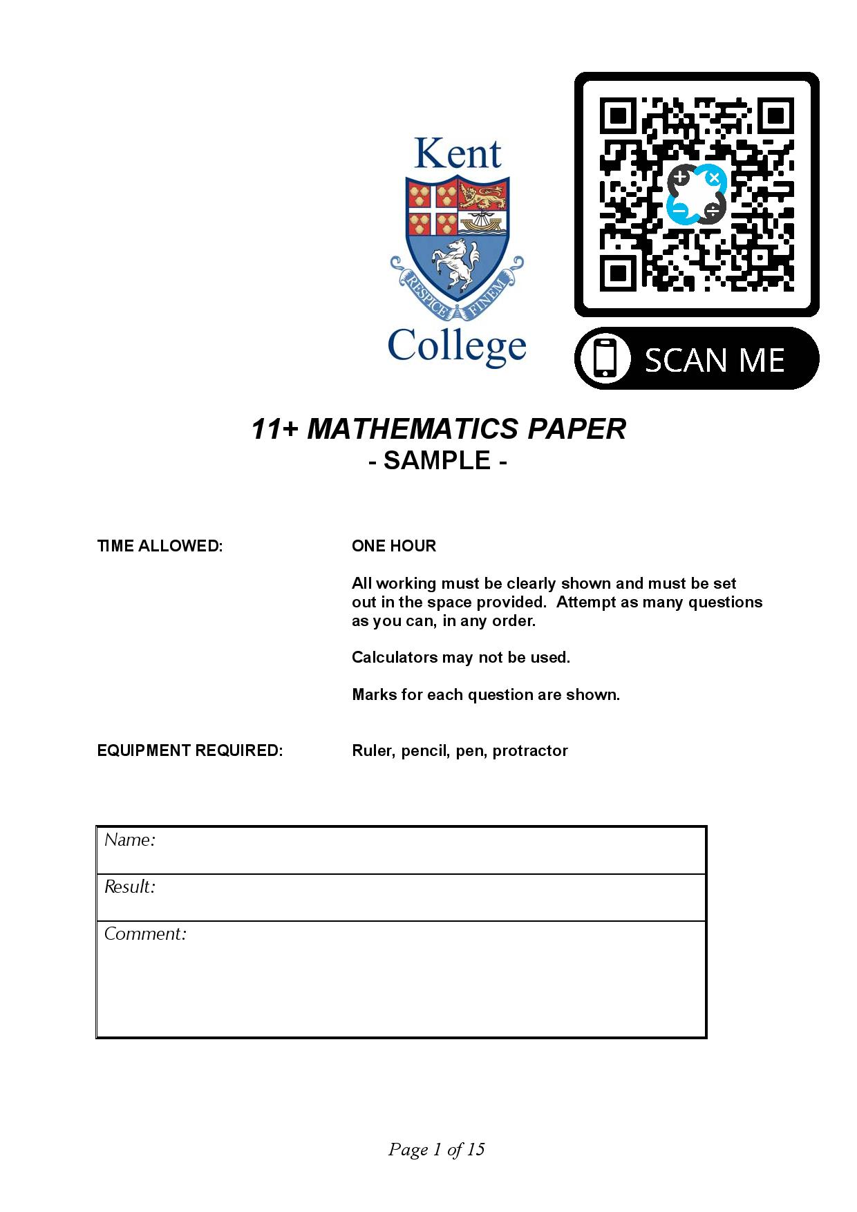 Kent College 11 MATHEMATICS PAPER SAMPLE Questions Paper page 001