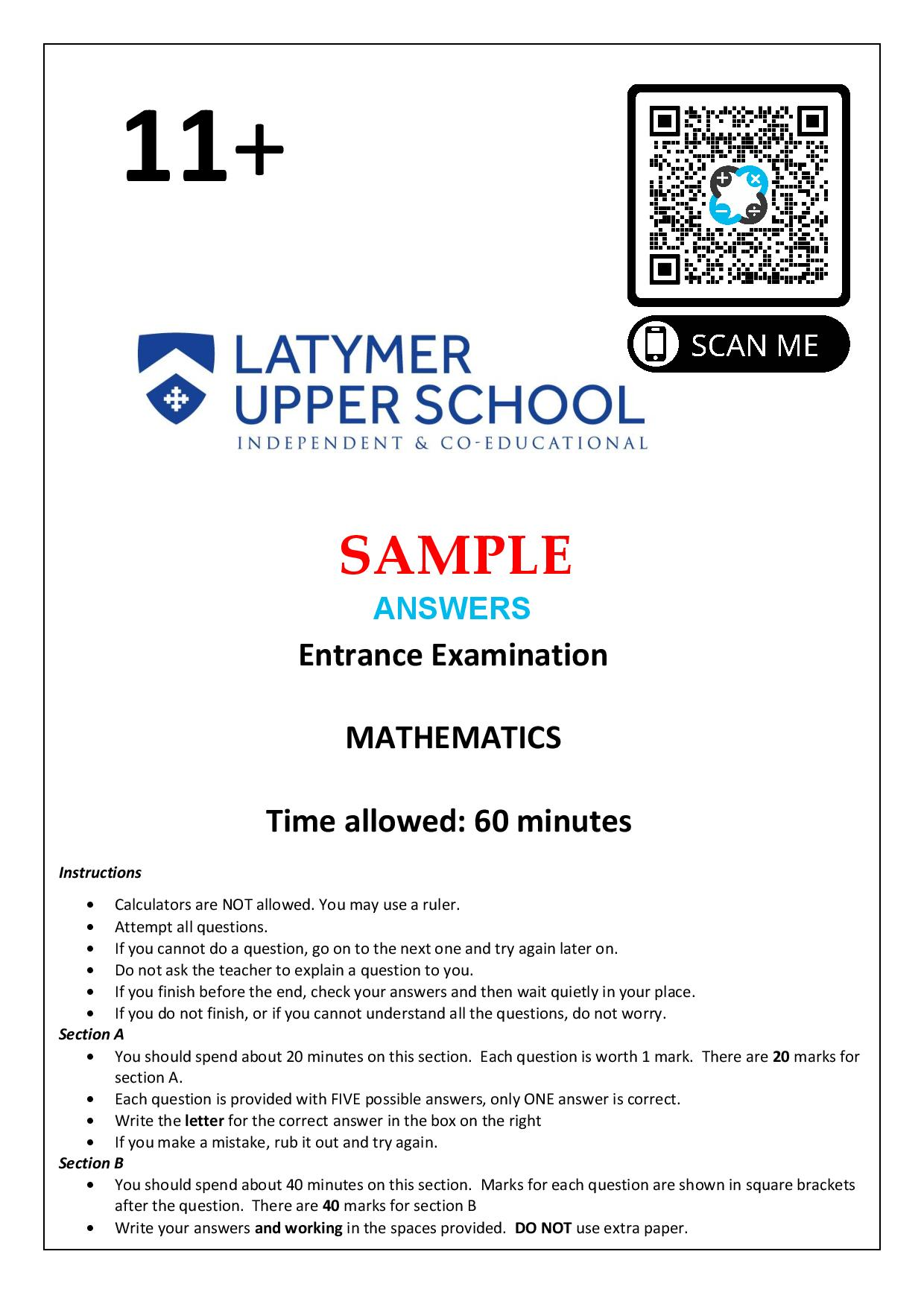 Latymer Upper School 11 Plus Maths Sample Paper 1 2020 Answers Paper page 001