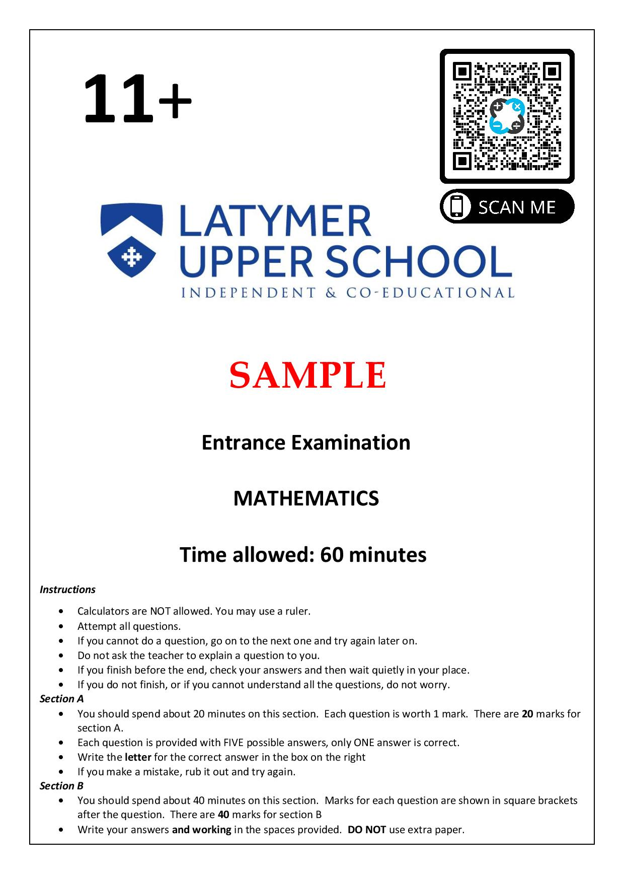Latymer Upper School 11 Plus Maths Sample Paper 1 2020 Questions Paper 1 page 001