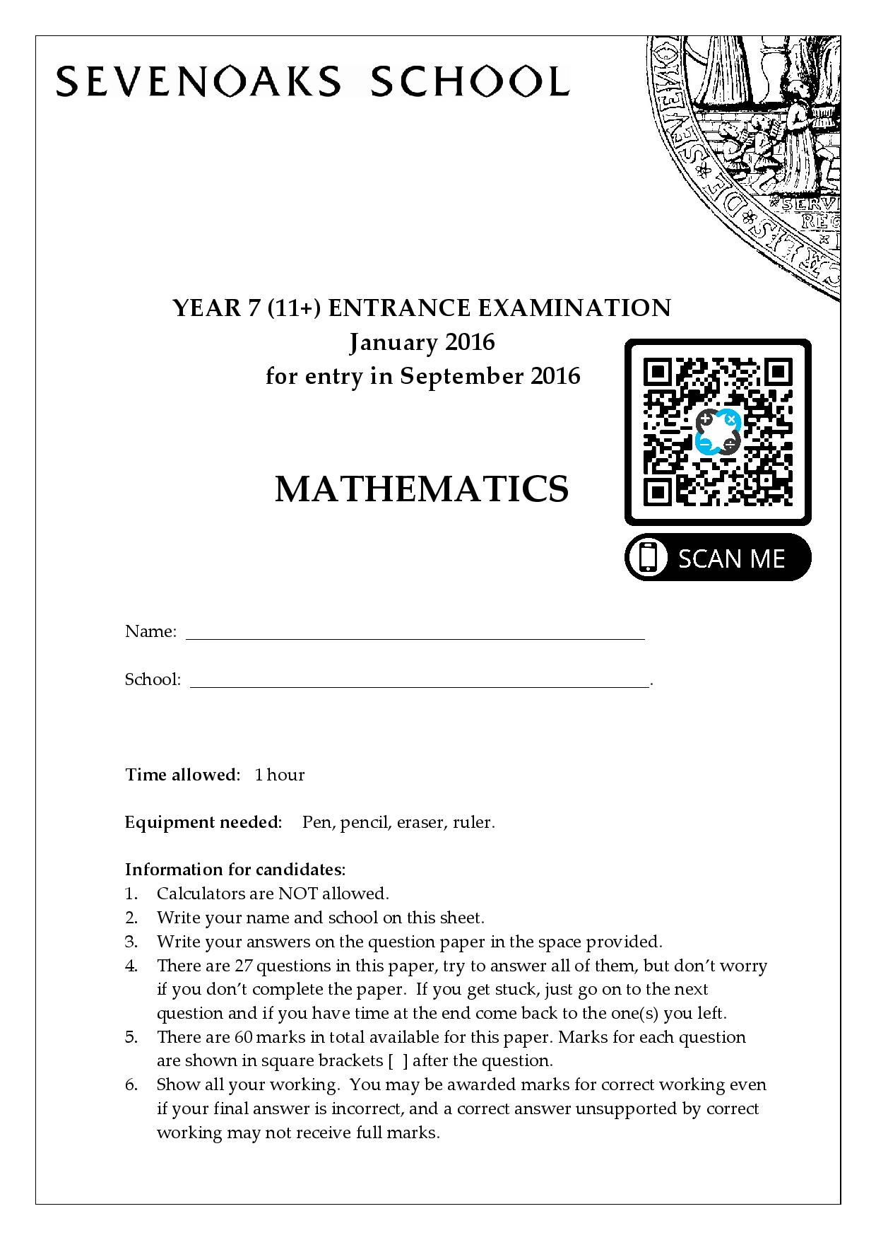 MATHS Entrance Year 7 2016 page 001