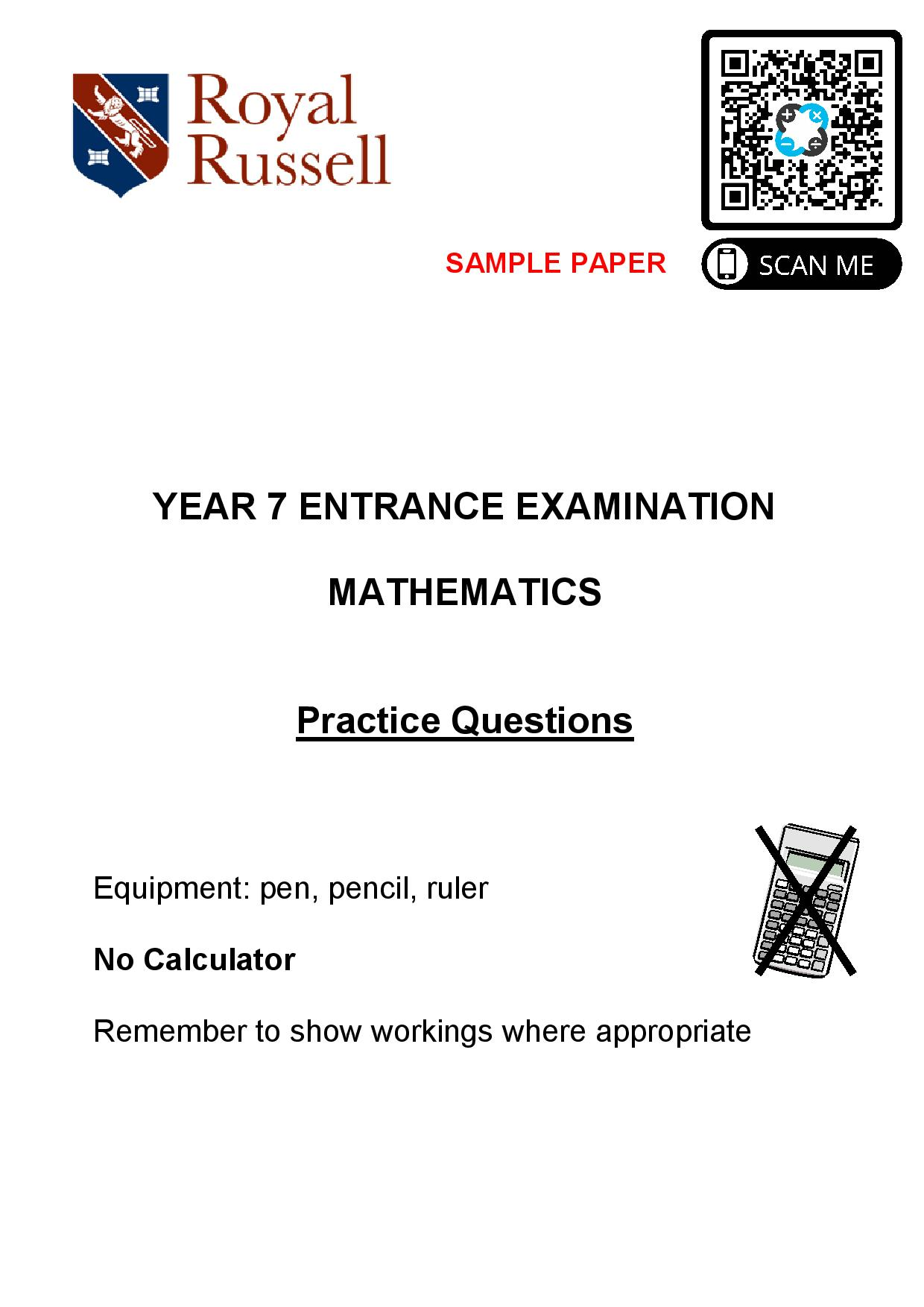 Royal Russell School Sample Year 7 Maths Practice Paper page 001
