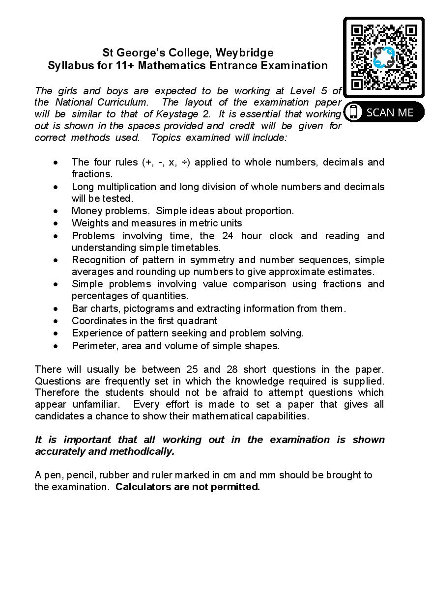 St George s College 11 Plus Maths Sample Paper 2012 Questions Paper page 001