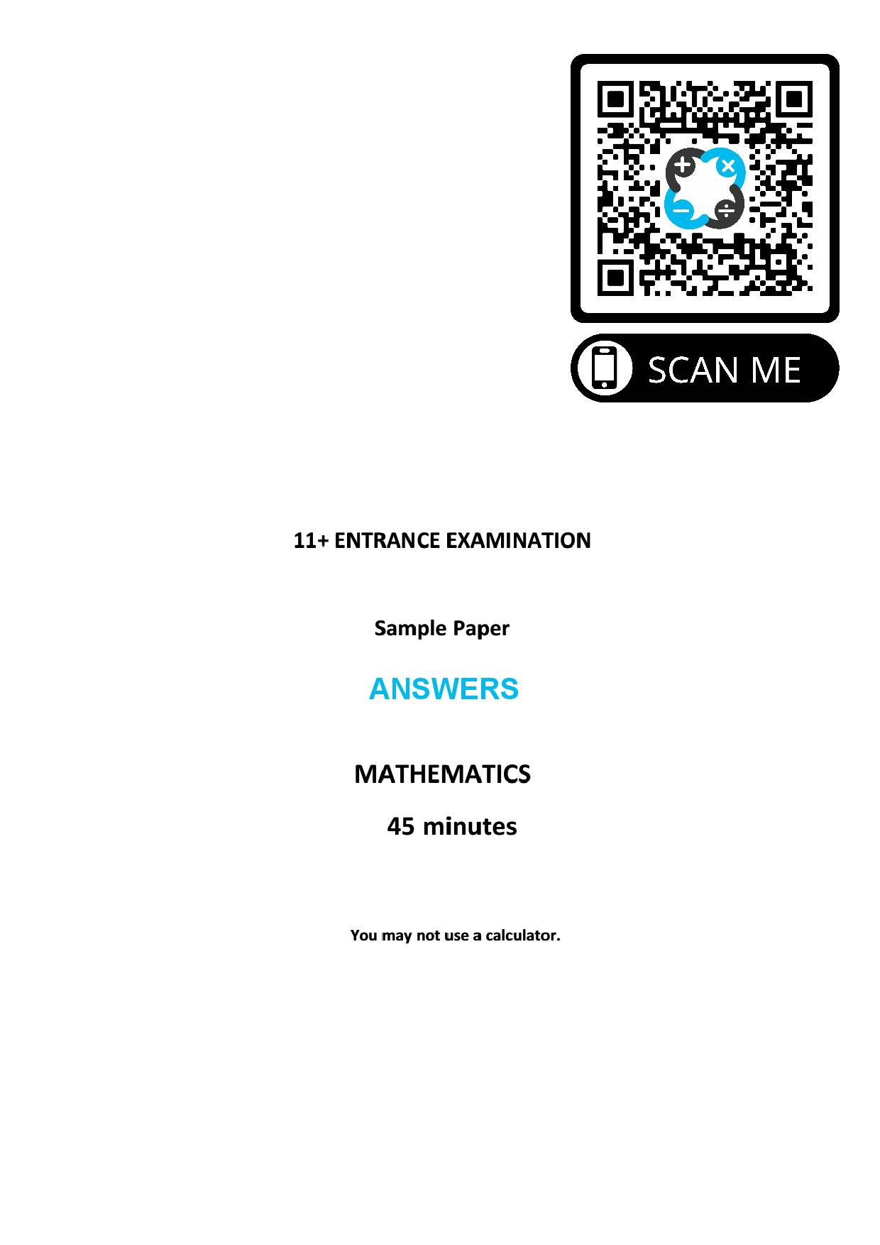 St Georges College 11 ENTRANCE EXAMINATION SAMPLE Answer Paper page 001 1