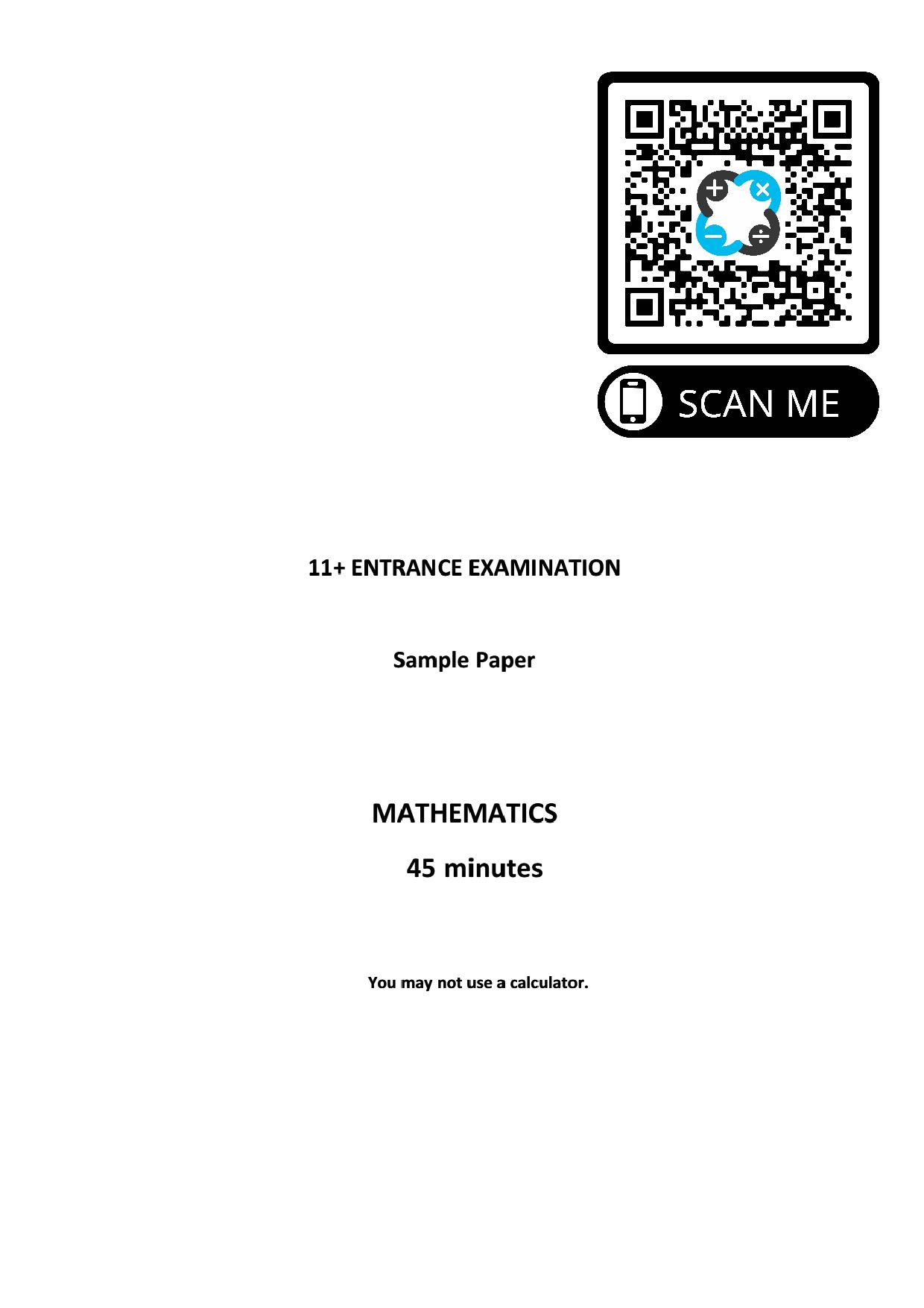 St Georges College 11 Plus Pre Test Sample Paper 1 page 001 1
