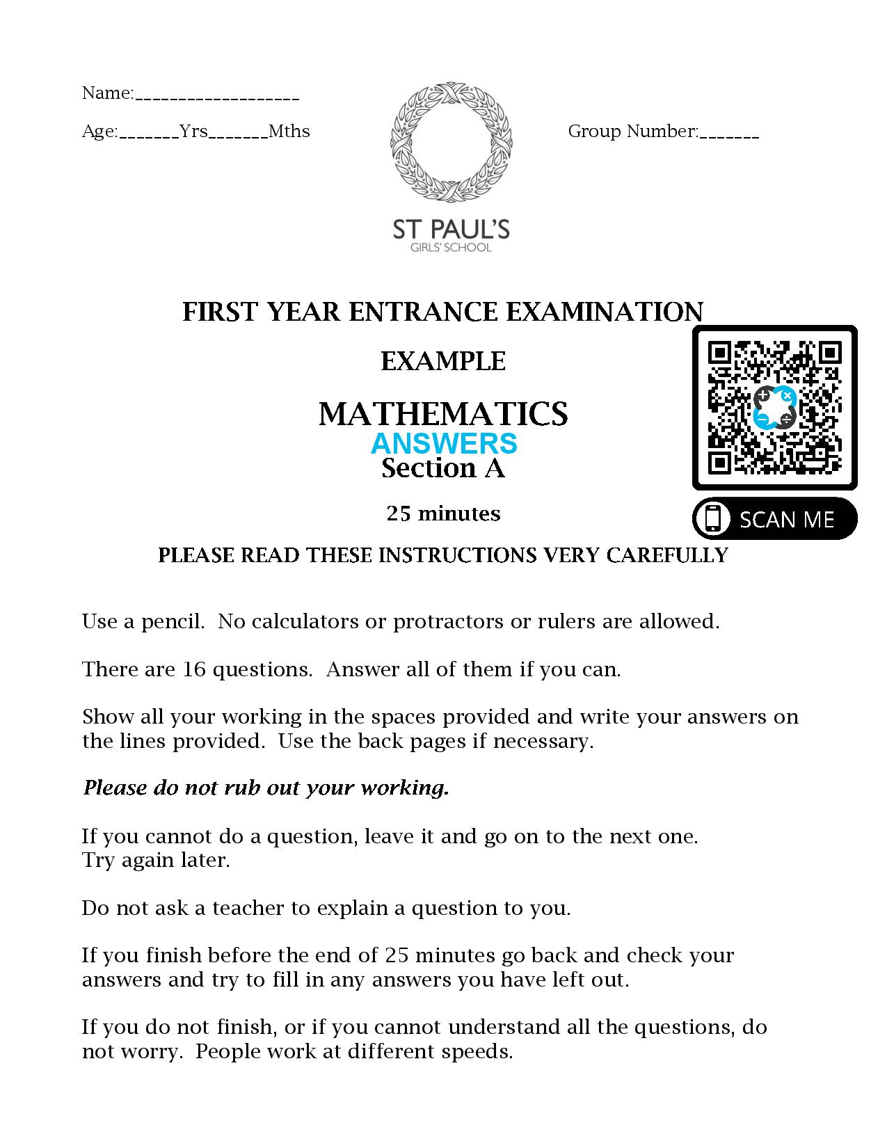 St Pauls School FIRST YEAR ENTRANCE EXAMINATION EXAMPLE 1 MATHEMATICS Section A 2017 Answers Paper page 001