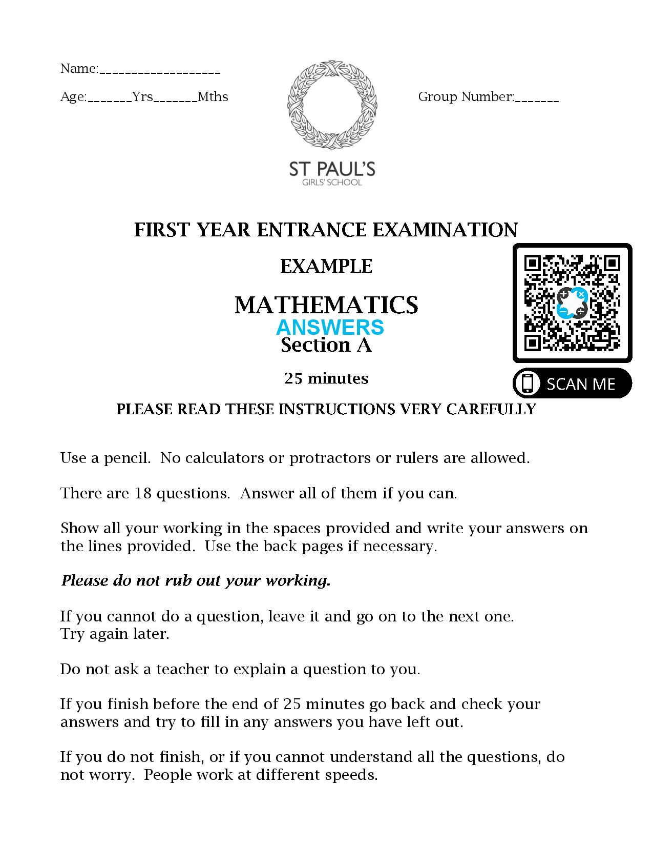 St Pauls School FIRST YEAR ENTRANCE EXAMINATION EXAMPLE MATHEMATICS 2017 SECTION A Answer Paper 2 page 001