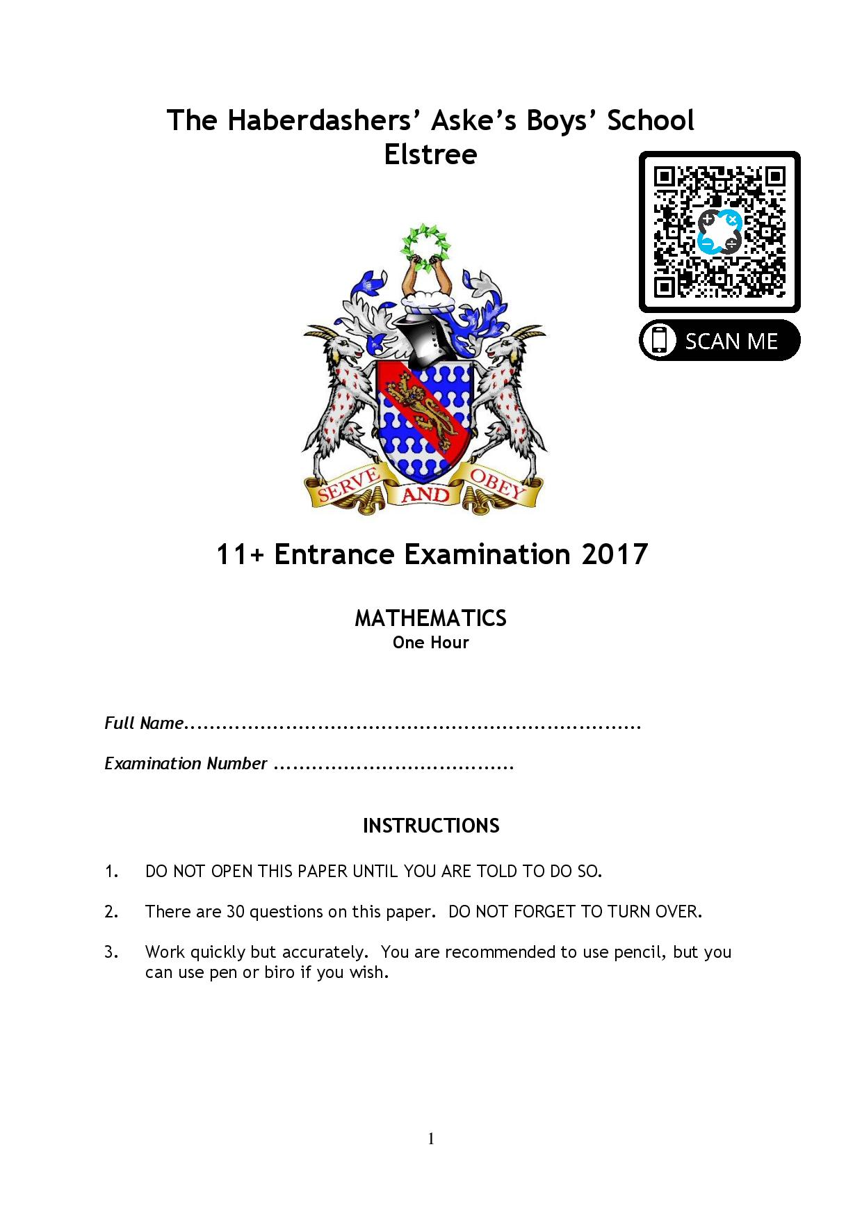 The Haberdashers Askes Boys School 2017 question paper page 001
