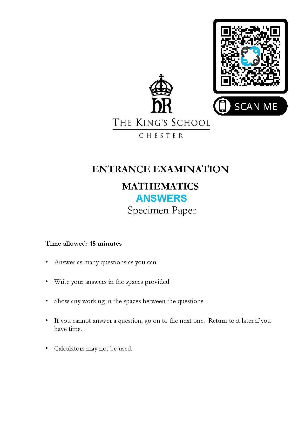 The Kings School Chester ENTRANCE EXAMINATION MATHEMATICS Specimen Paper Answer Paper page 001