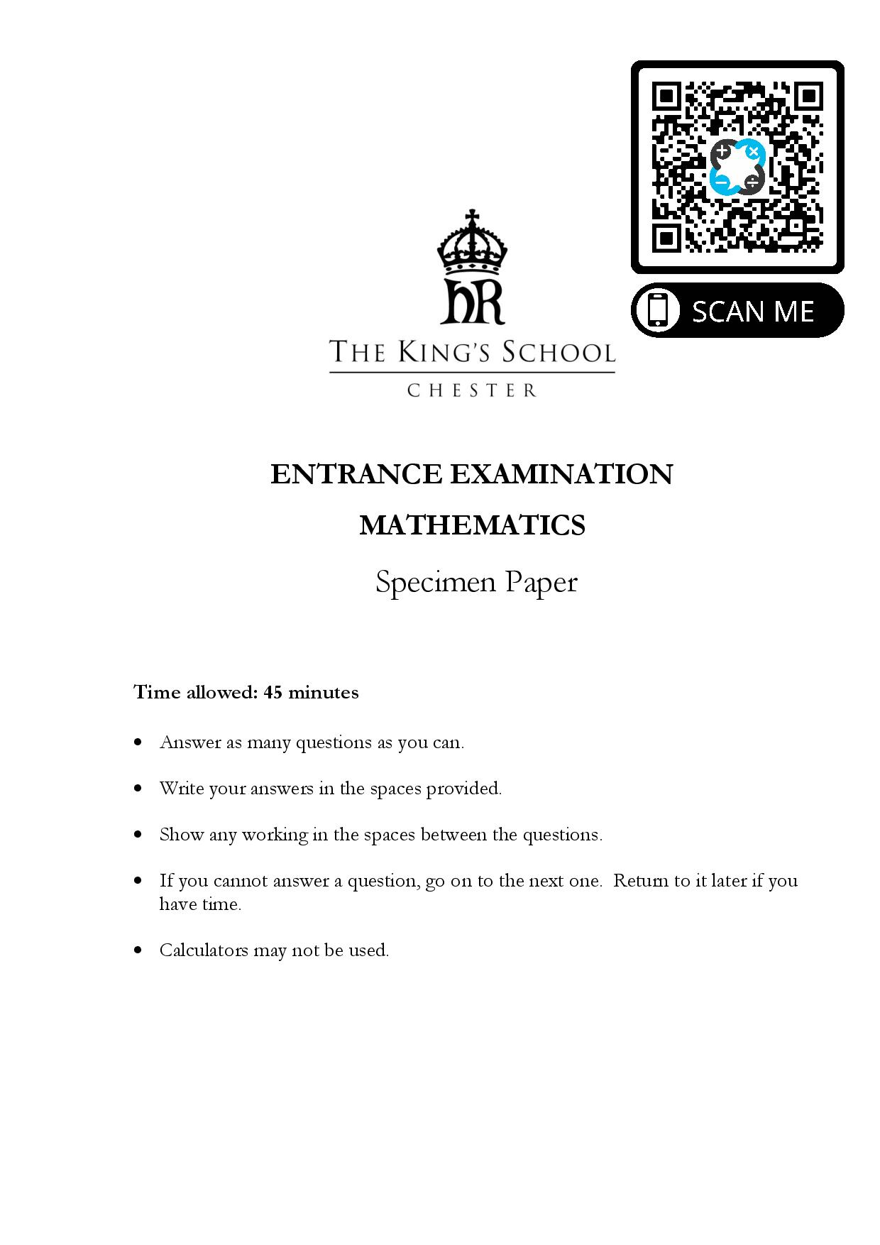 The Kings School Chester ENTRANCE EXAMINATION MATHEMATICS Specimen Paper Questions Paper page 001