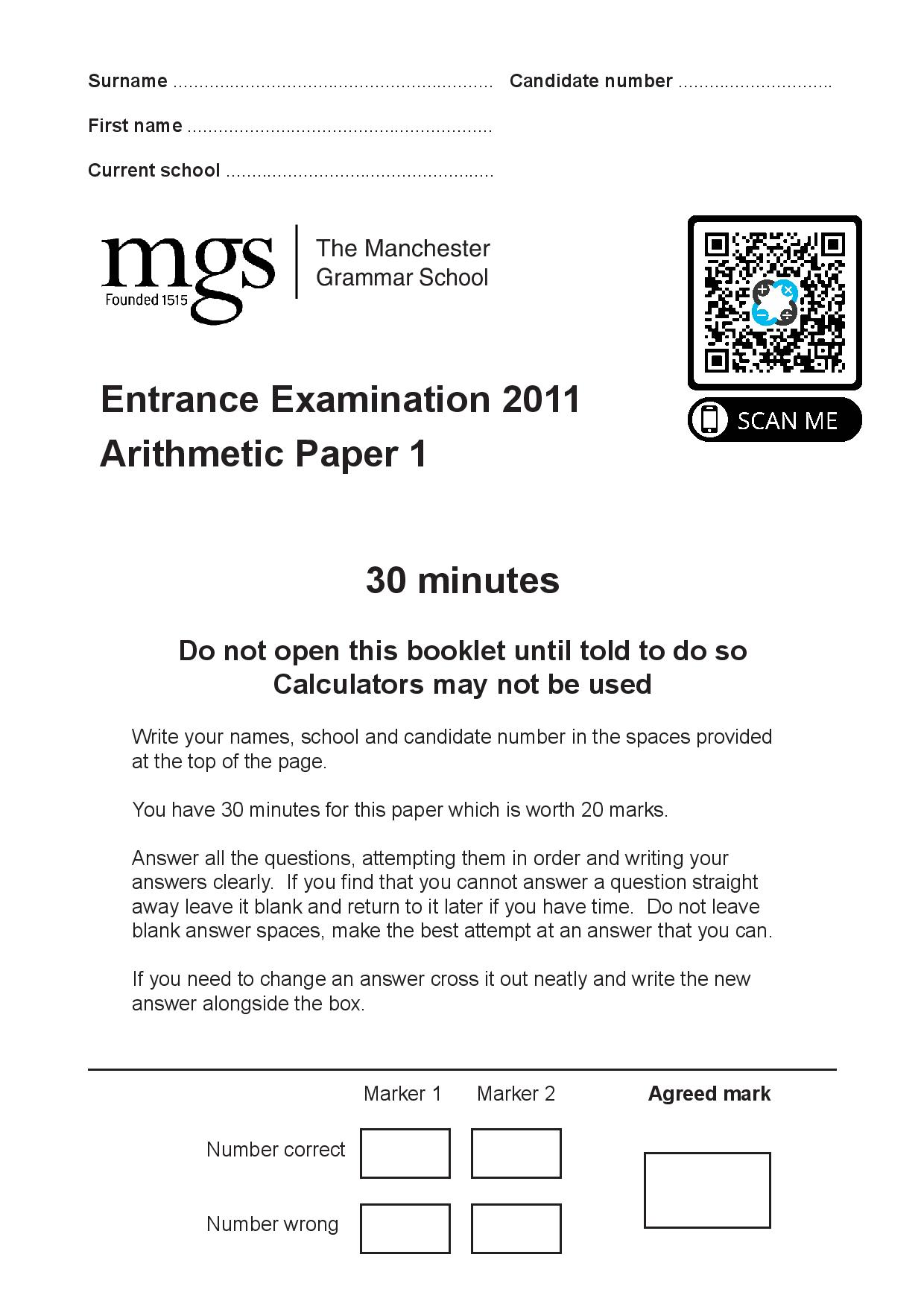 The Manchester Grammar School 11 Plus Papers Arithmetic 1 2011 1 page 001