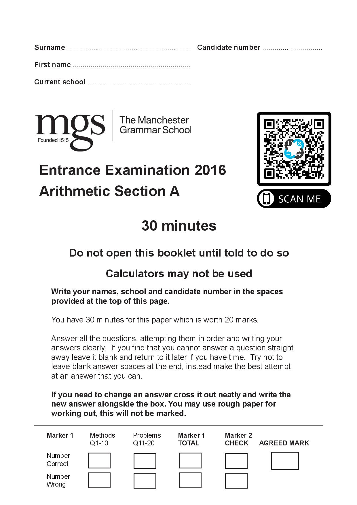 The Manchester Grammar School 11 Plus Papers Arithmetic A 2016 page 001