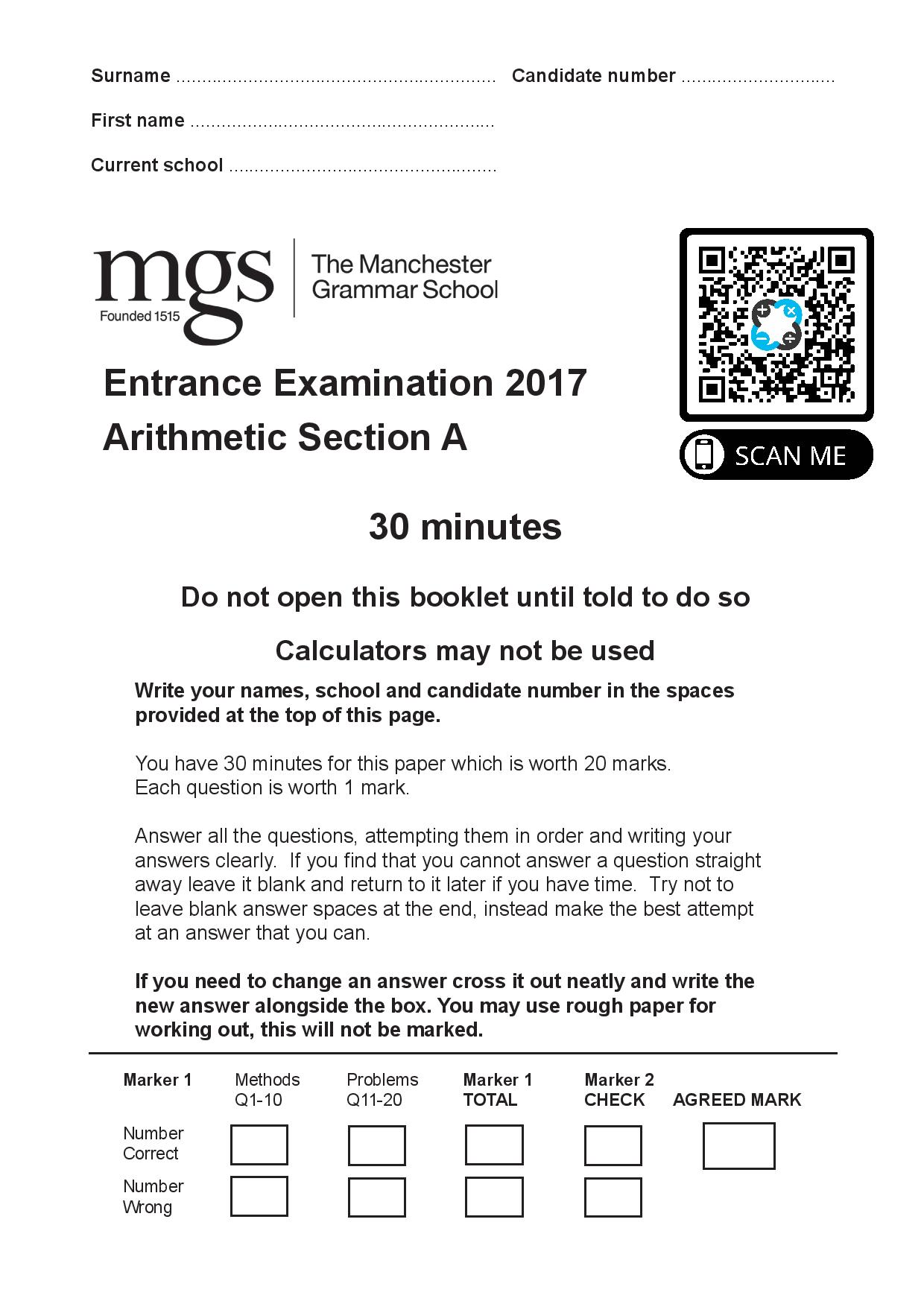 The Manchester Grammar School 11 Plus Papers Arithmetic A 2017 page 001