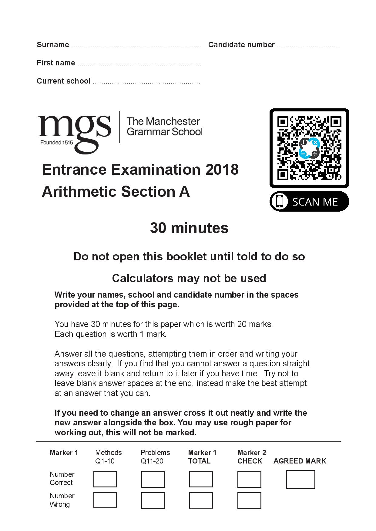 The Manchester Grammar School 11 Plus Papers Arithmetic A 2018 page 001