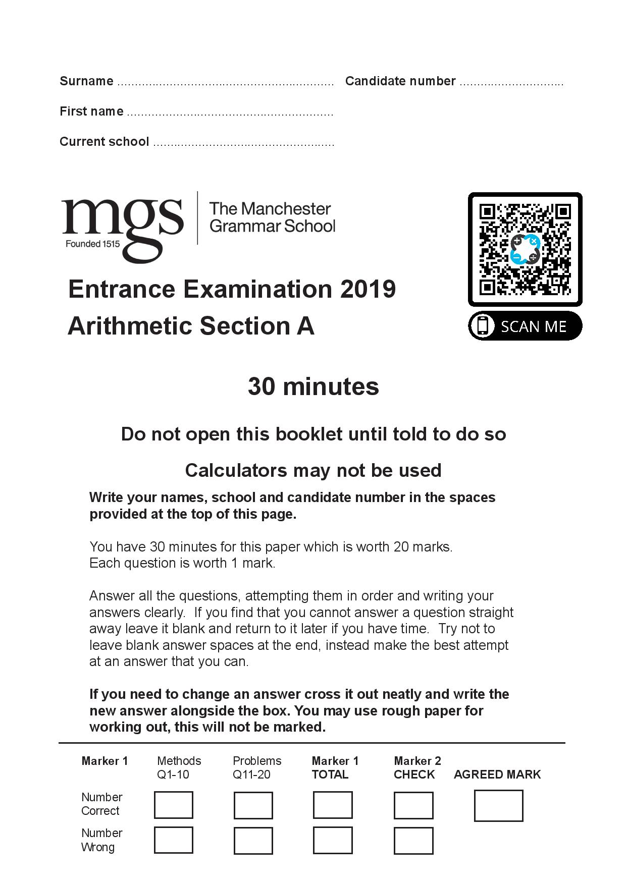 The Manchester Grammar School 11 Plus Papers Arithmetic A 2019 page 001