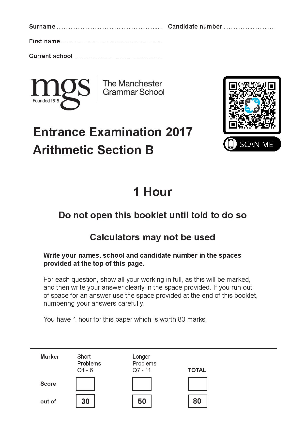 The Manchester Grammar School 11 Plus Papers Arithmetic B 2017 page 001