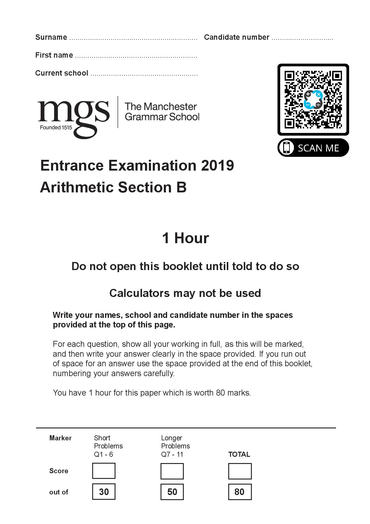 The Manchester Grammar School 11 Plus Papers Arithmetic B 2019 page 001