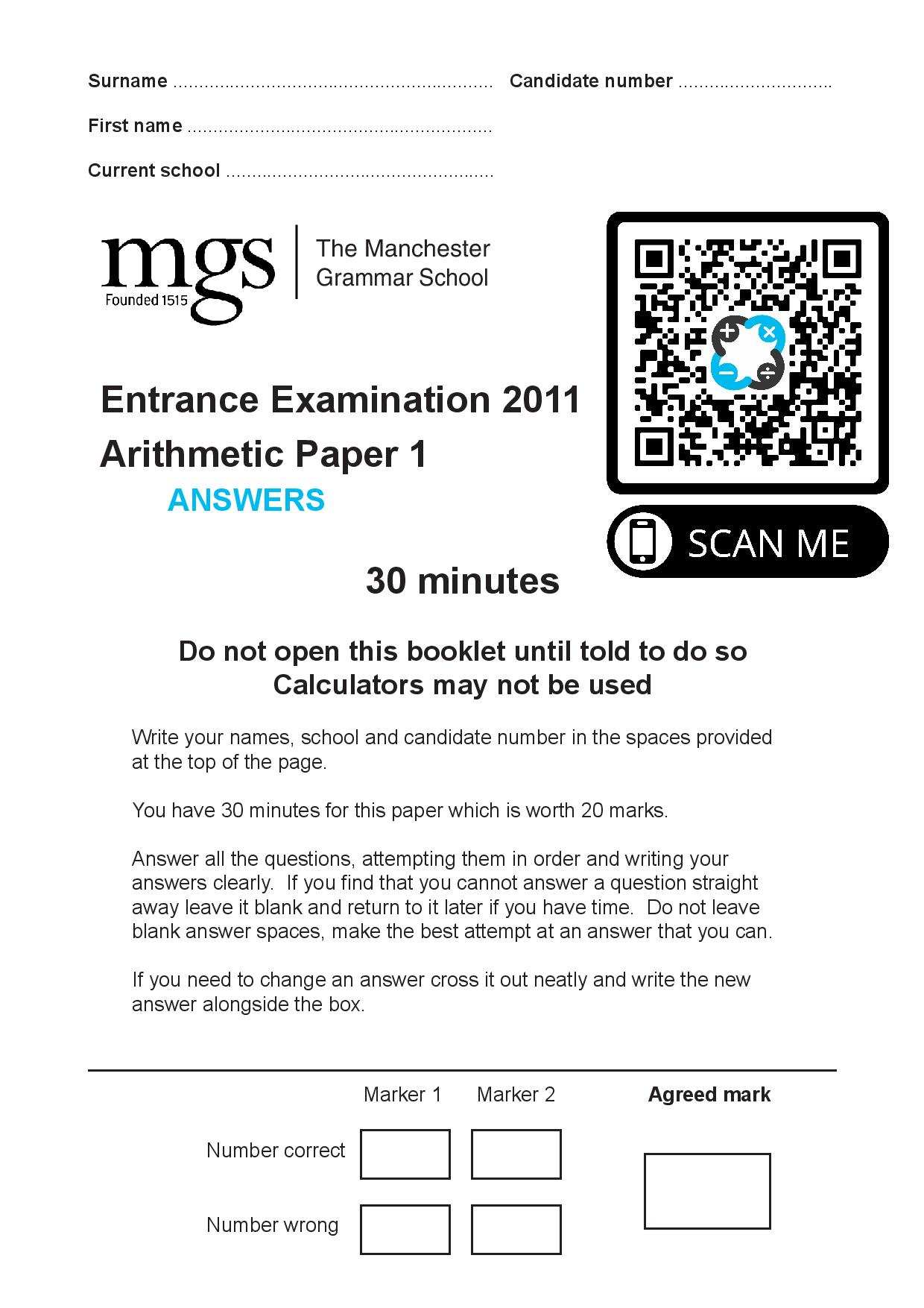 The Manchester Grammar School Entrance Examination 2011 Arithmetic Paper 1 Answer Paper page 001